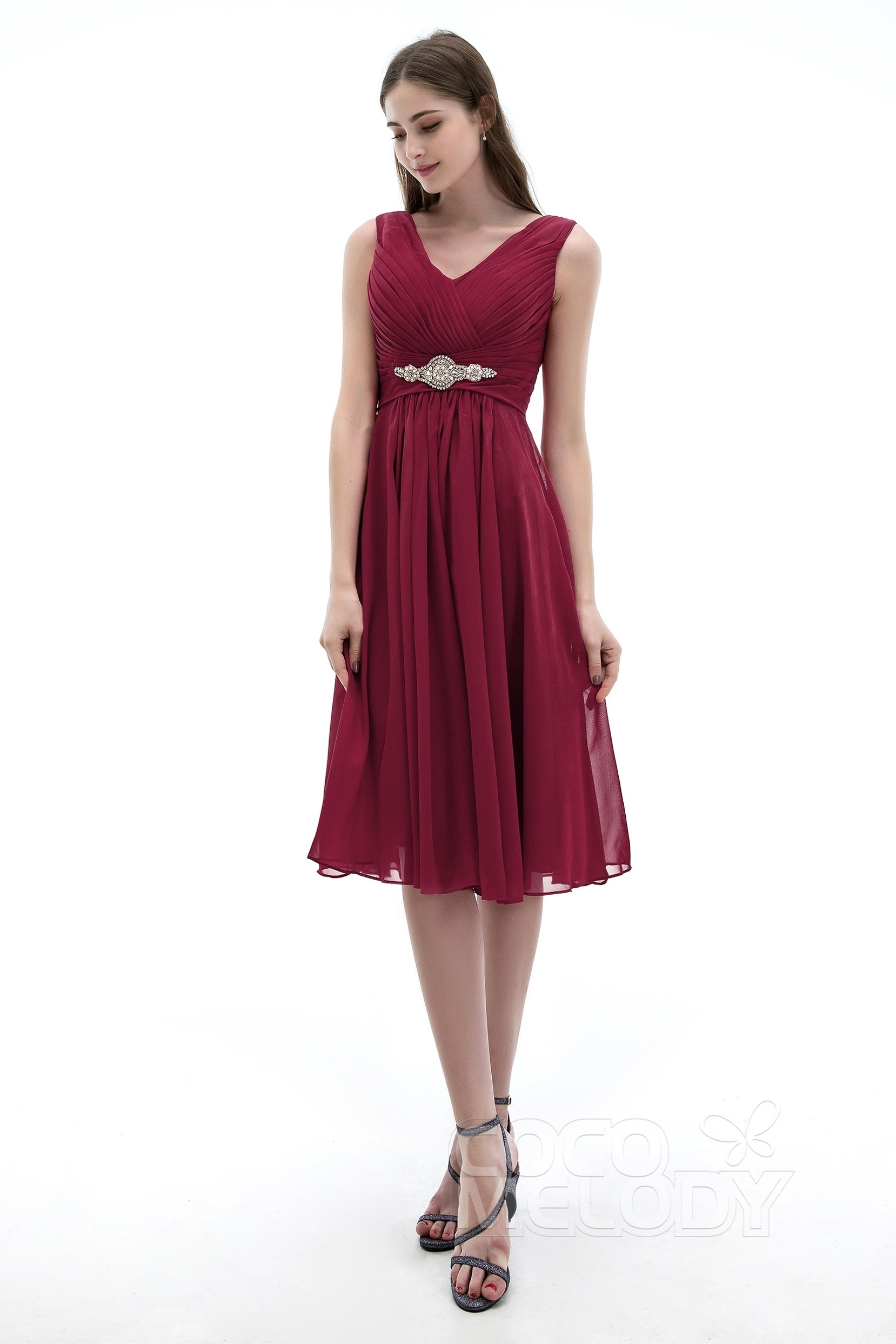 7cf73c566919cd Hot Selling A-Line V-Neck Knee Length Chiffon Bridesmaids Dress COZK1302A