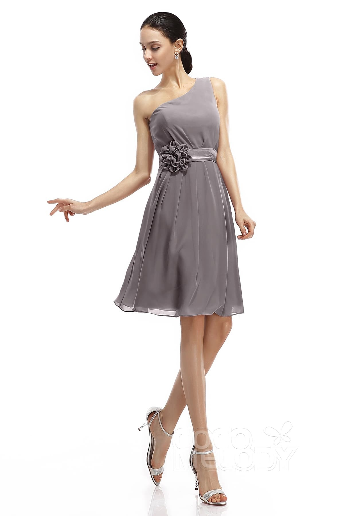 A Line Knee Length Chiffon Bridesmaid Dresses Cozk1400d
