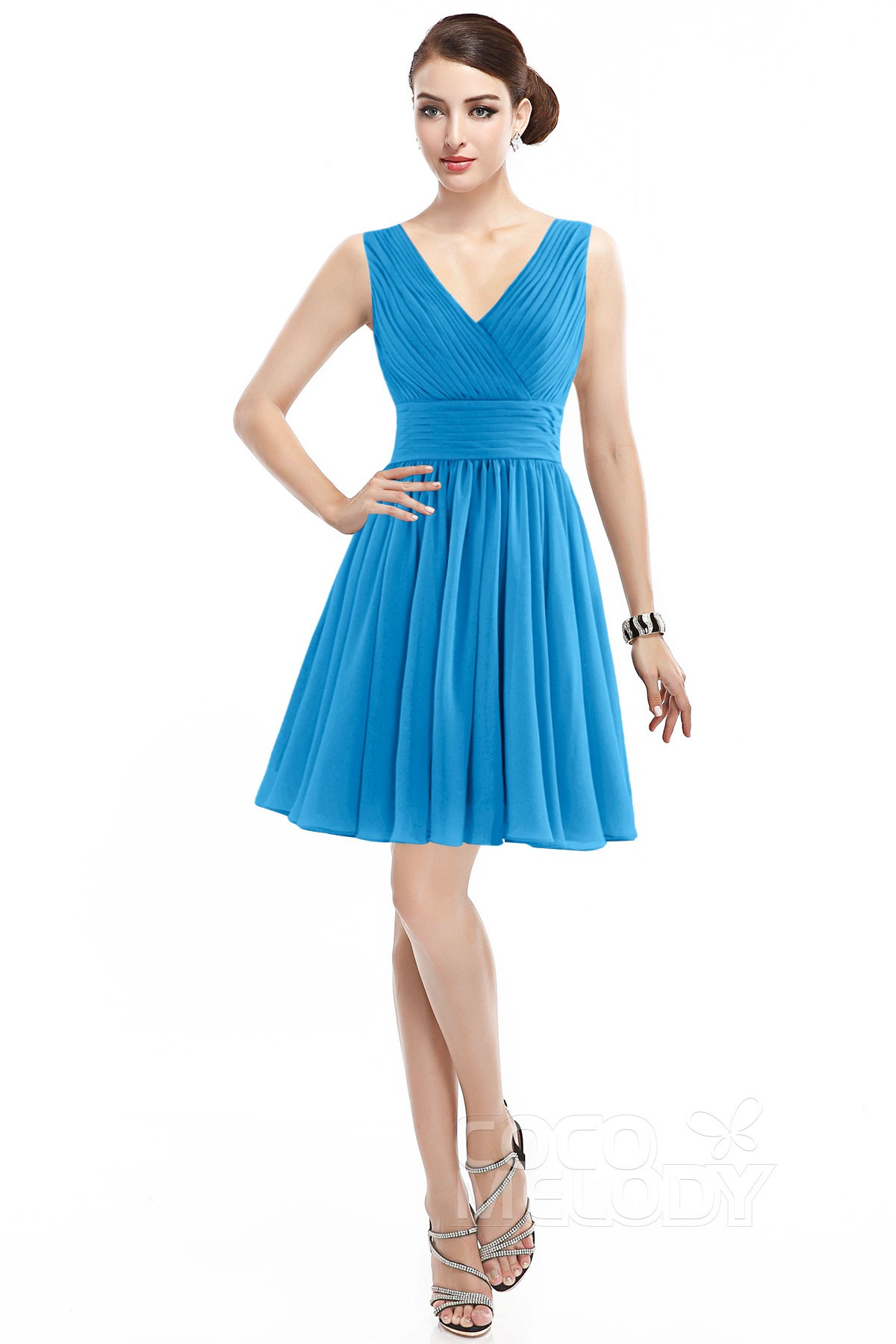 Casual A Line V Neck Natural Short Mini Chiffon Sleeveless Zipper Bridesmaid Dress Cozk14019