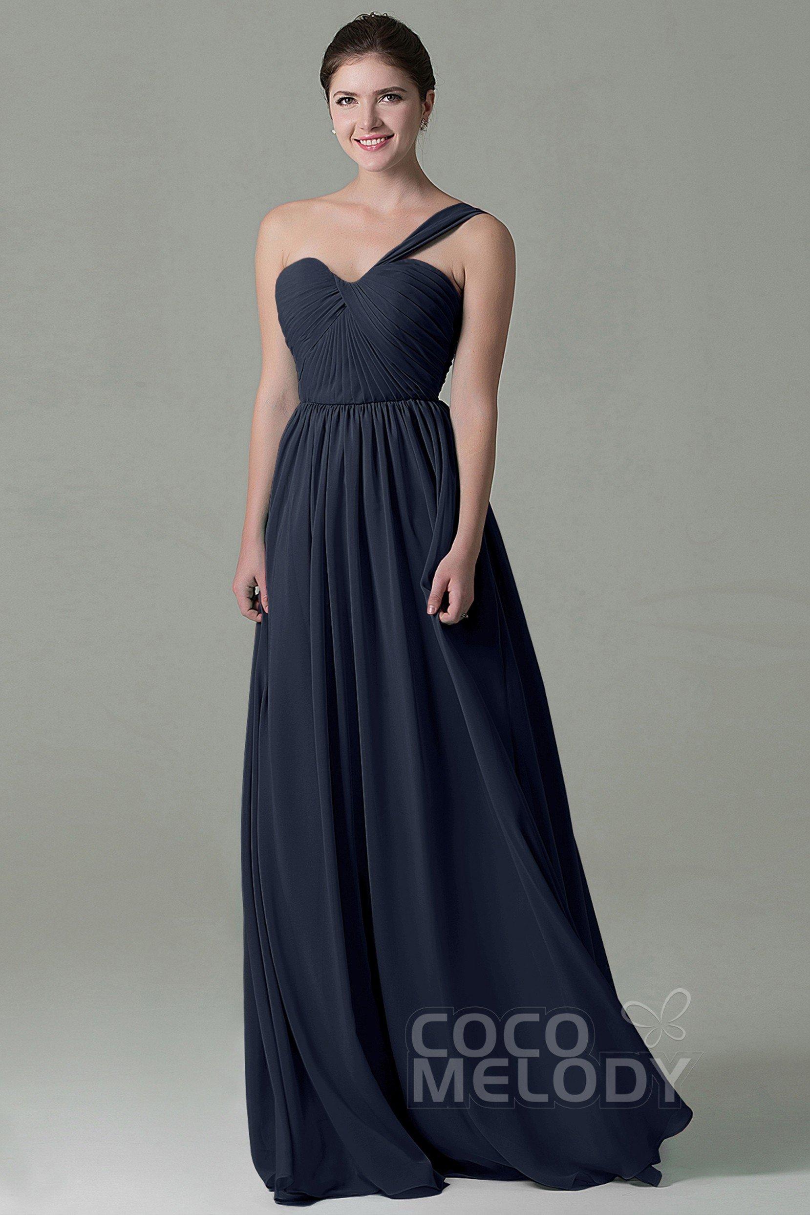 a4e5894d4783 Cute Sheath-Column One Shoulder Natural Floor Length Chiffon Sleeveless Lace  Up-Corset Bridesmaid