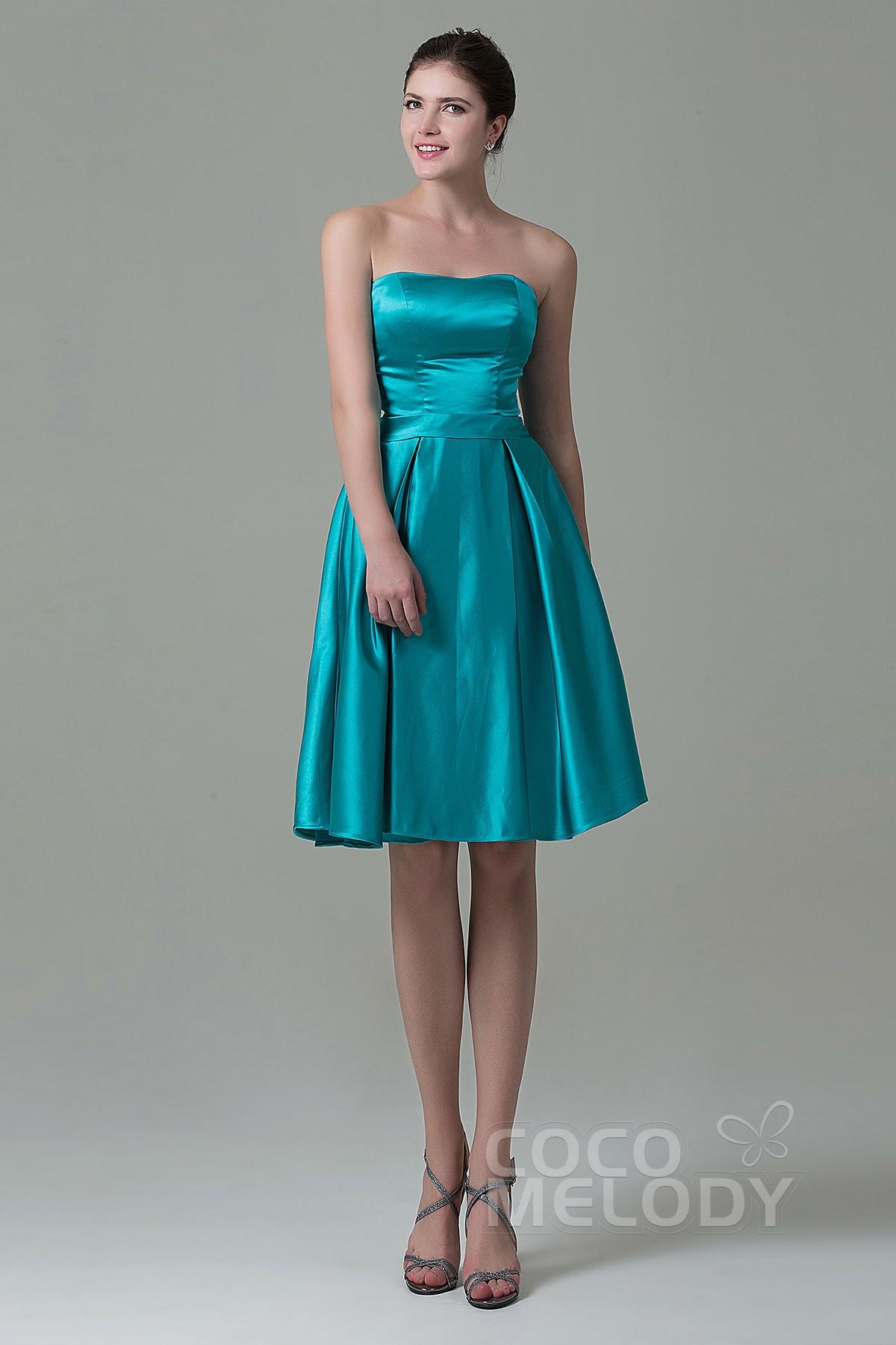 e3229240cf2 A-Line Knee Length Satin Bridesmaid Dress COZK1500A