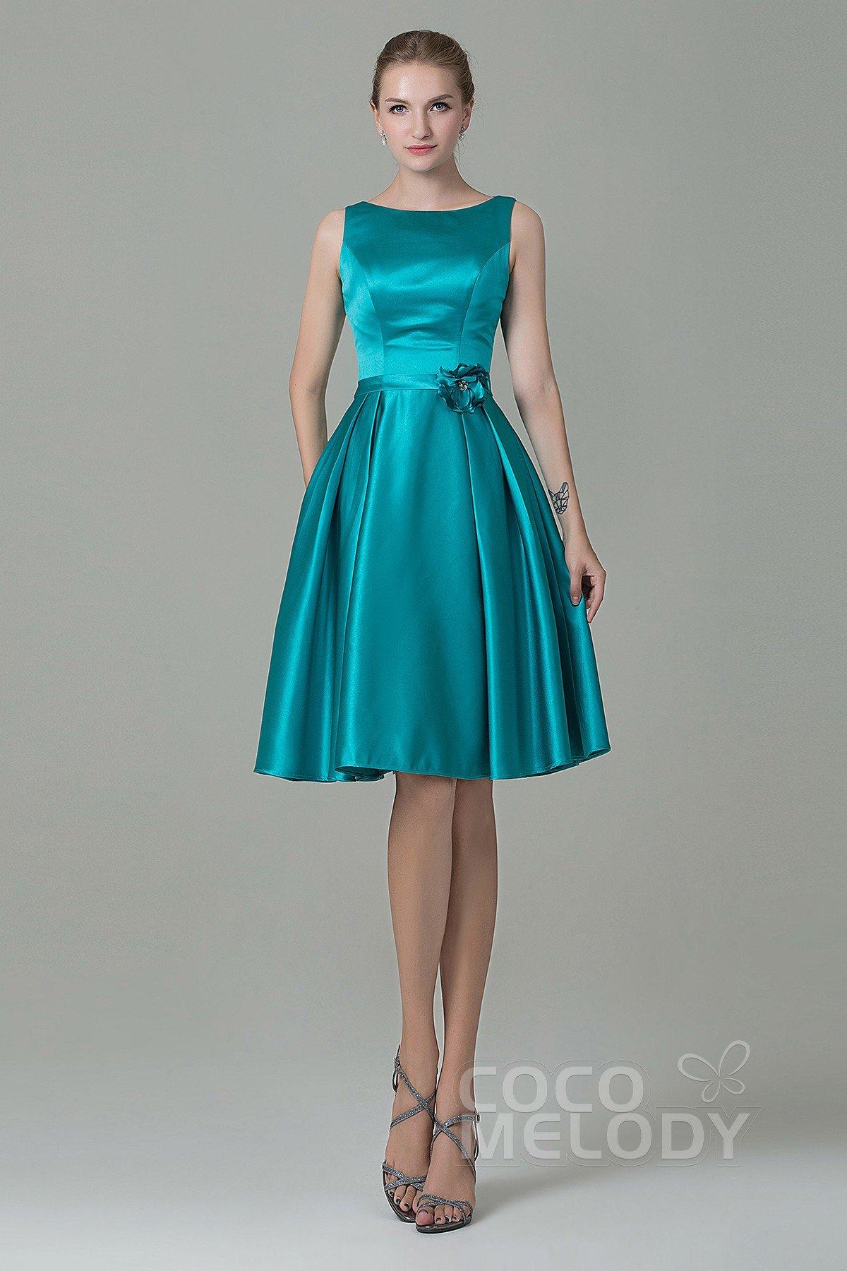 Pretty A Line Bateau Natural Knee Length Satin Sleeveless Zipper Bridesmaid Dress With Flower Cozk1500b