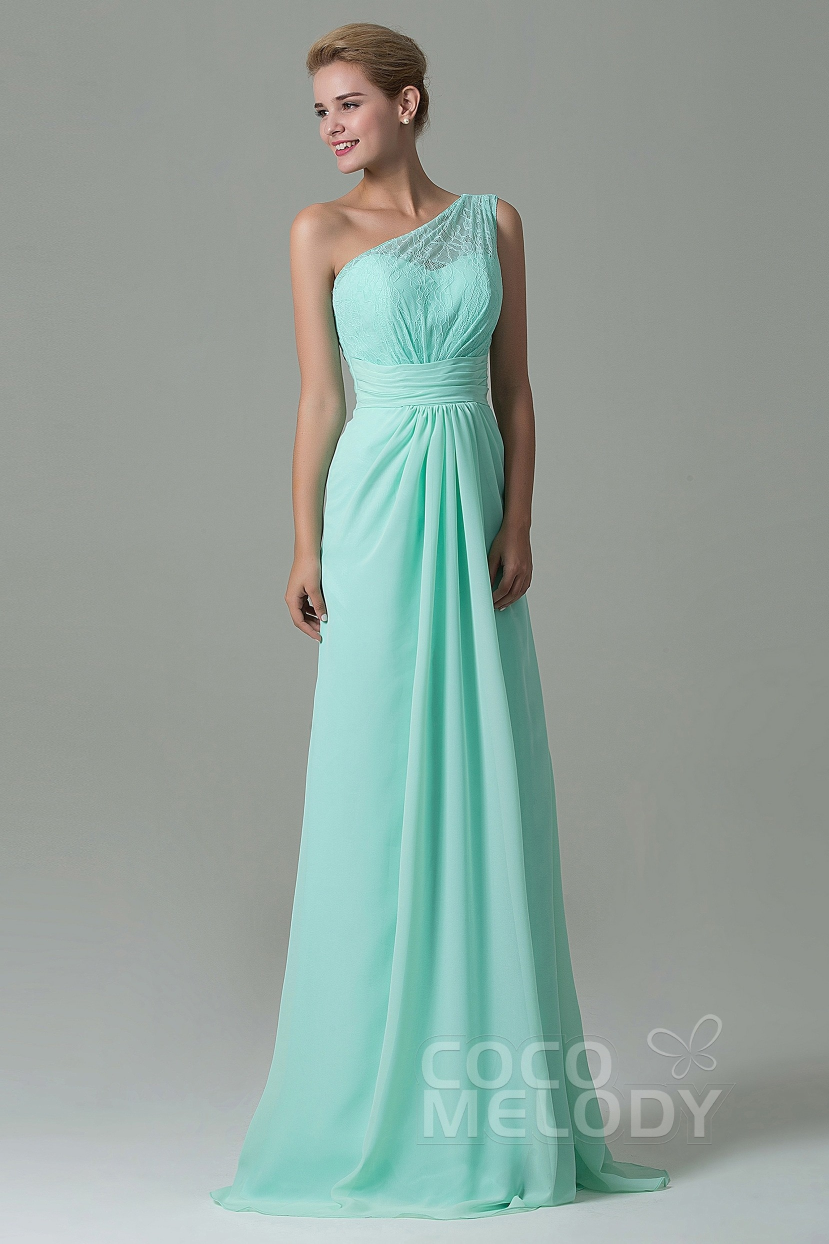Charming Sheath Column One Shoulder Natural Floor Length Lace Chiffon Sleeveless Side Zipper Bridesmaid Dress Cozk16004