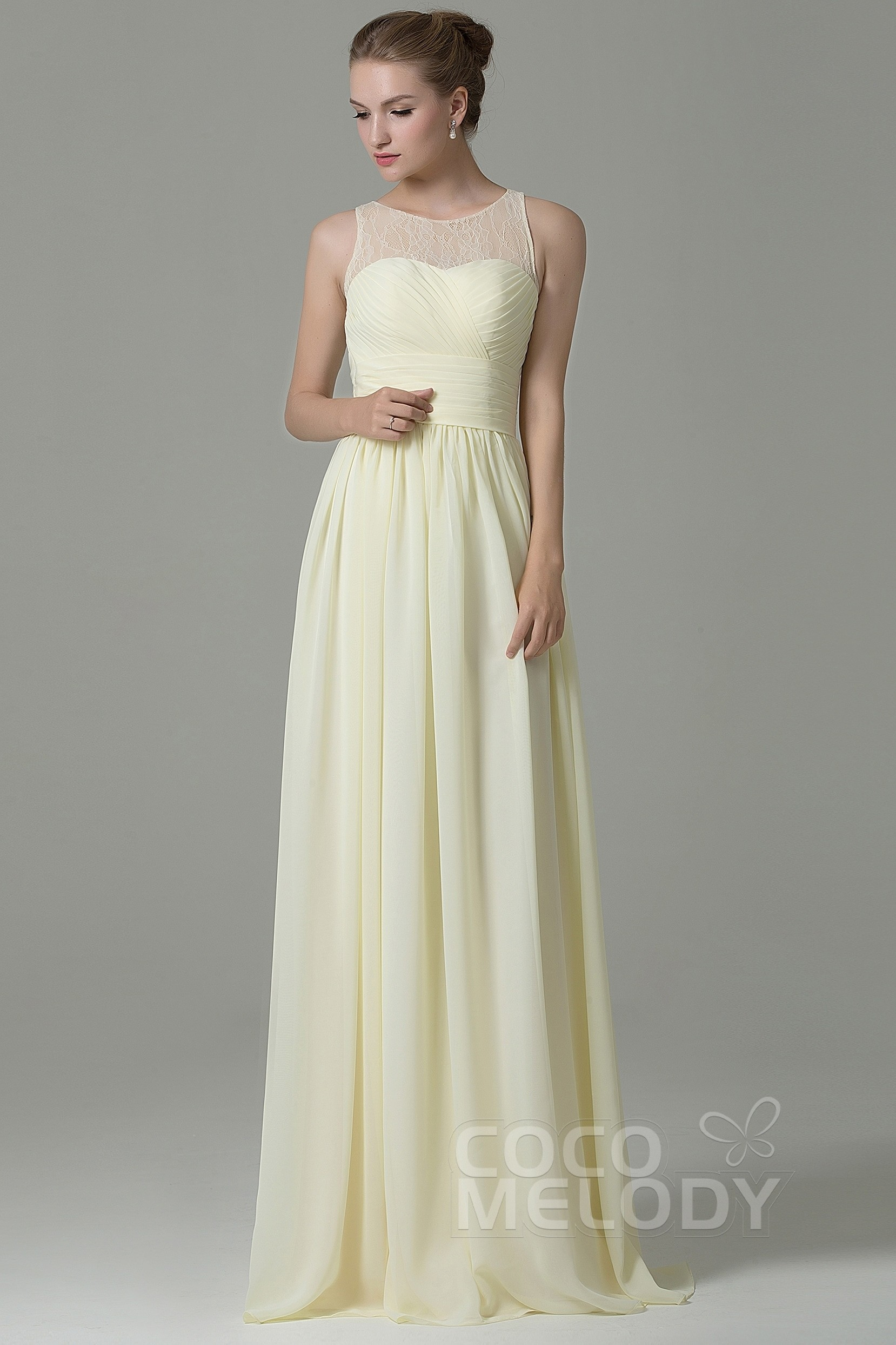 Hot Sheath Column Illusion Natural Floor Length Lace Chiffon Sleeveless Zipper Bridesmaid Dress Cozk16005