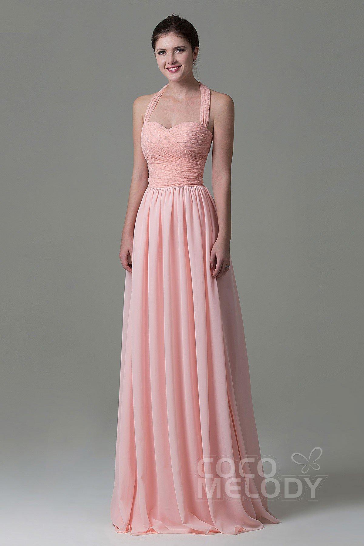 Cocomelody: Sheath-Column Floor Length Lace Chiffon Bridesmaid Dress ...