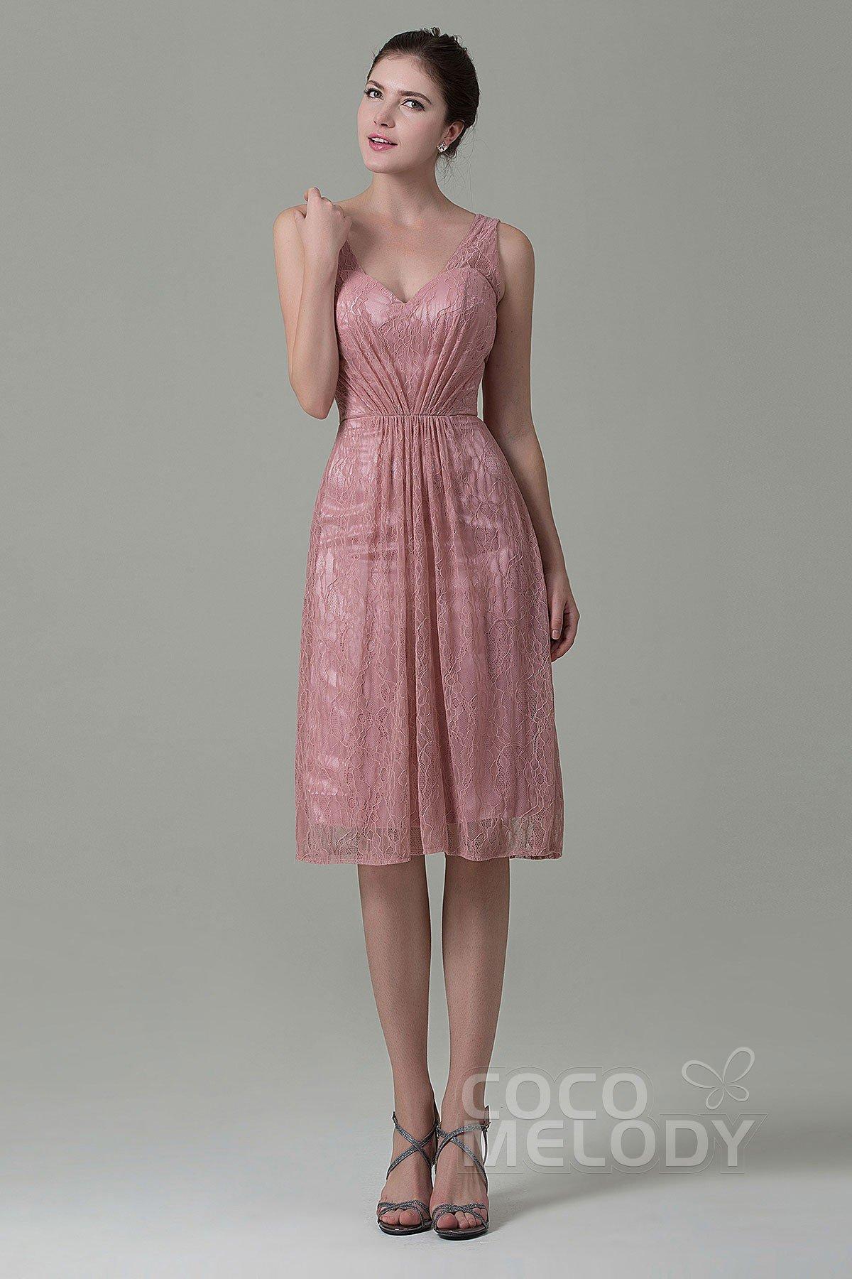 1611007d06d Sheath-Column Knee Length Lace Bridesmaid Dress COZK16010
