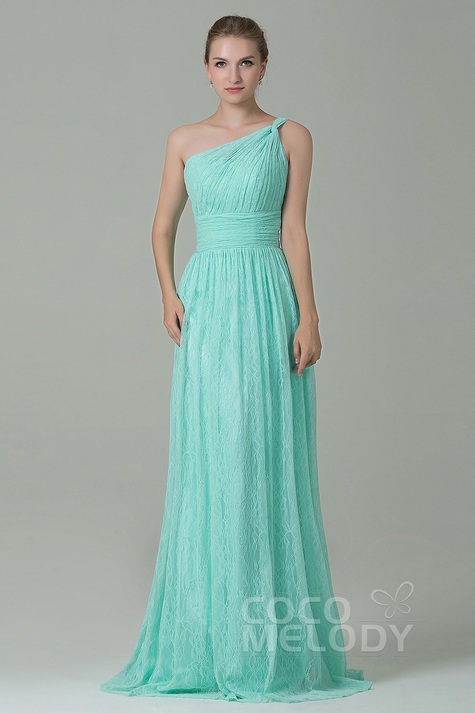 Cocomelody: Sheath-Column Floor Length Lace Bridesmaid Dress ...