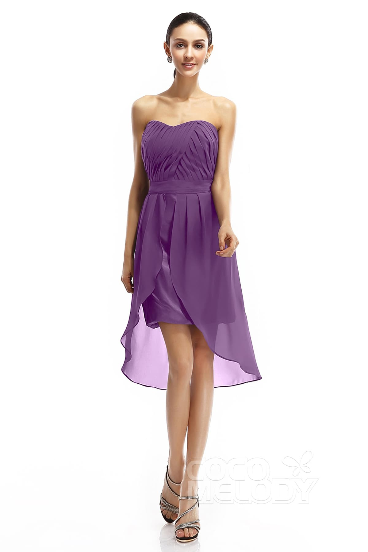 f5dcedb514fa2 Fantastic Sheath-Column Sweetheart High-Low Chiffon Sleeveless Zipper  Graduation Dresses COZM14005