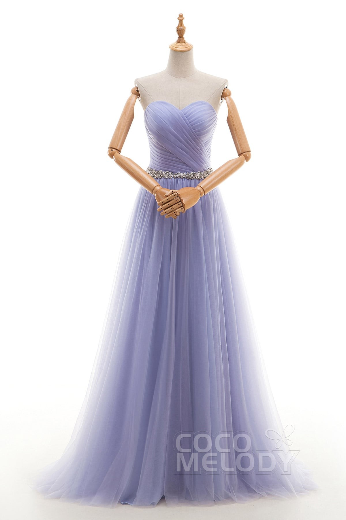 579ab4a20a3 A-Line Court Train Tulle Evening Dress Beading Pleating COZT16002 ...