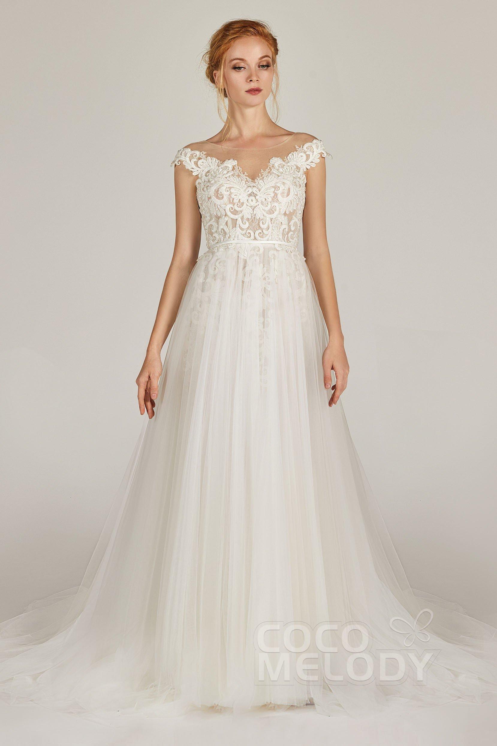 A Line Bateau Tulle Lace Cap Sleeve Wedding Dress Appliques Cw2279