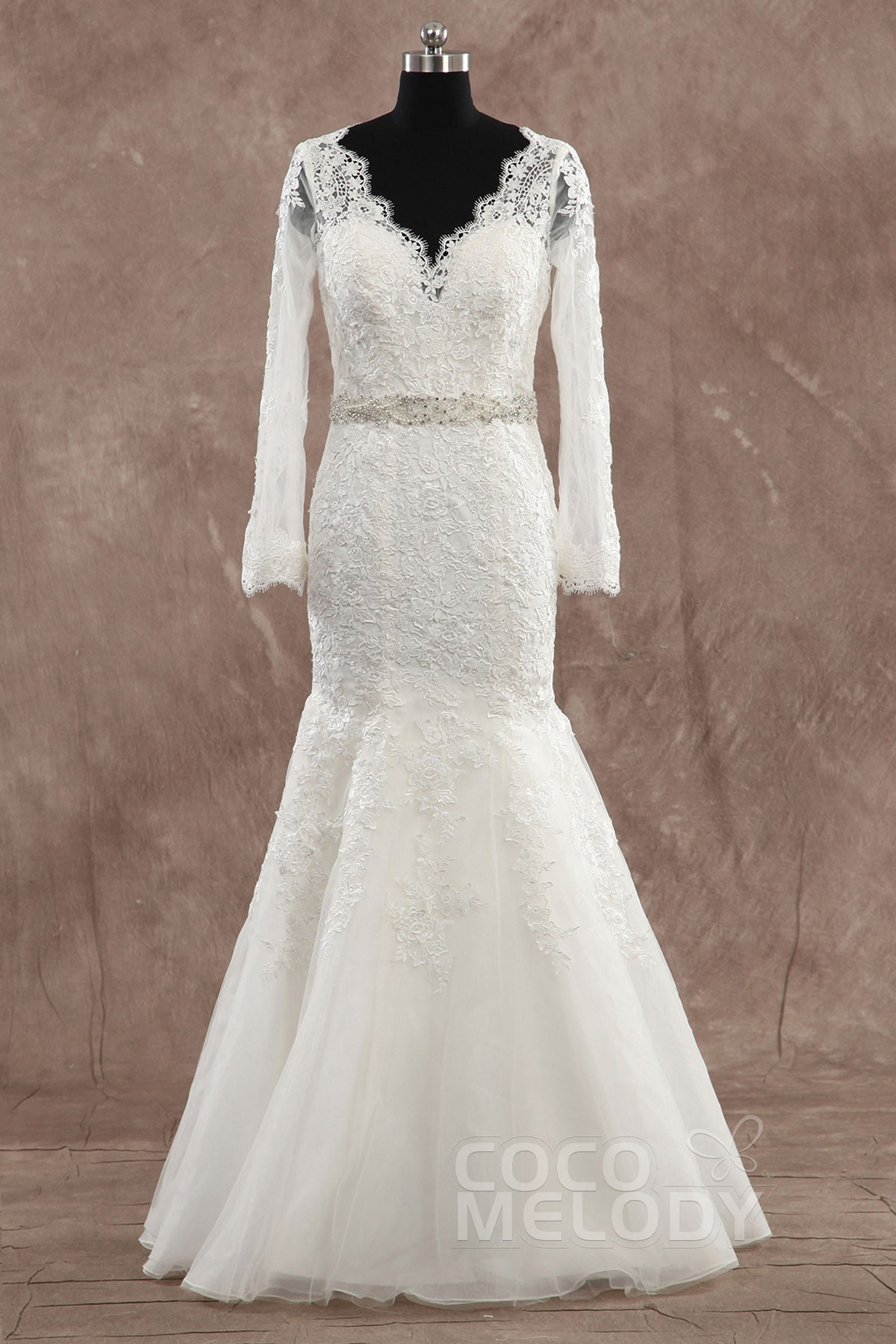 Cocomelody: Trumpet-Mermaid V-Neck Floor Length Lace Wedding Dress ...