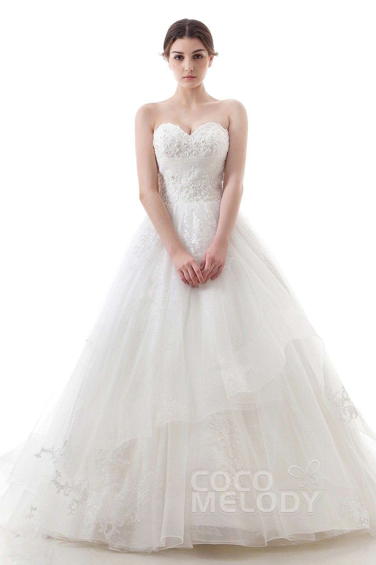 Elegant A Line Sweetheart Dropped Chapel Train Tulle And Lace Ivory Sleeveless Up Corset Wedding Dress Liques Beading Cwlt16007