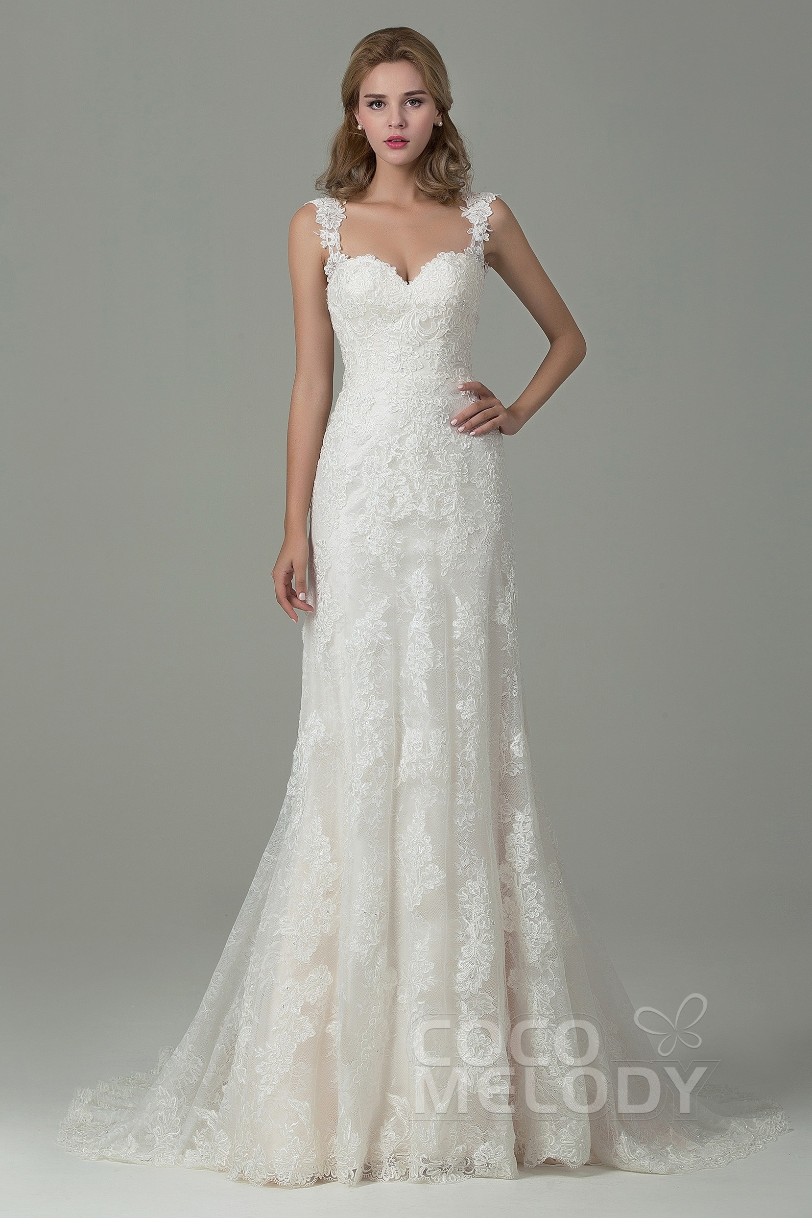 Sheath Column Court Train Lace Wedding Dress With Liques Cwvt15002
