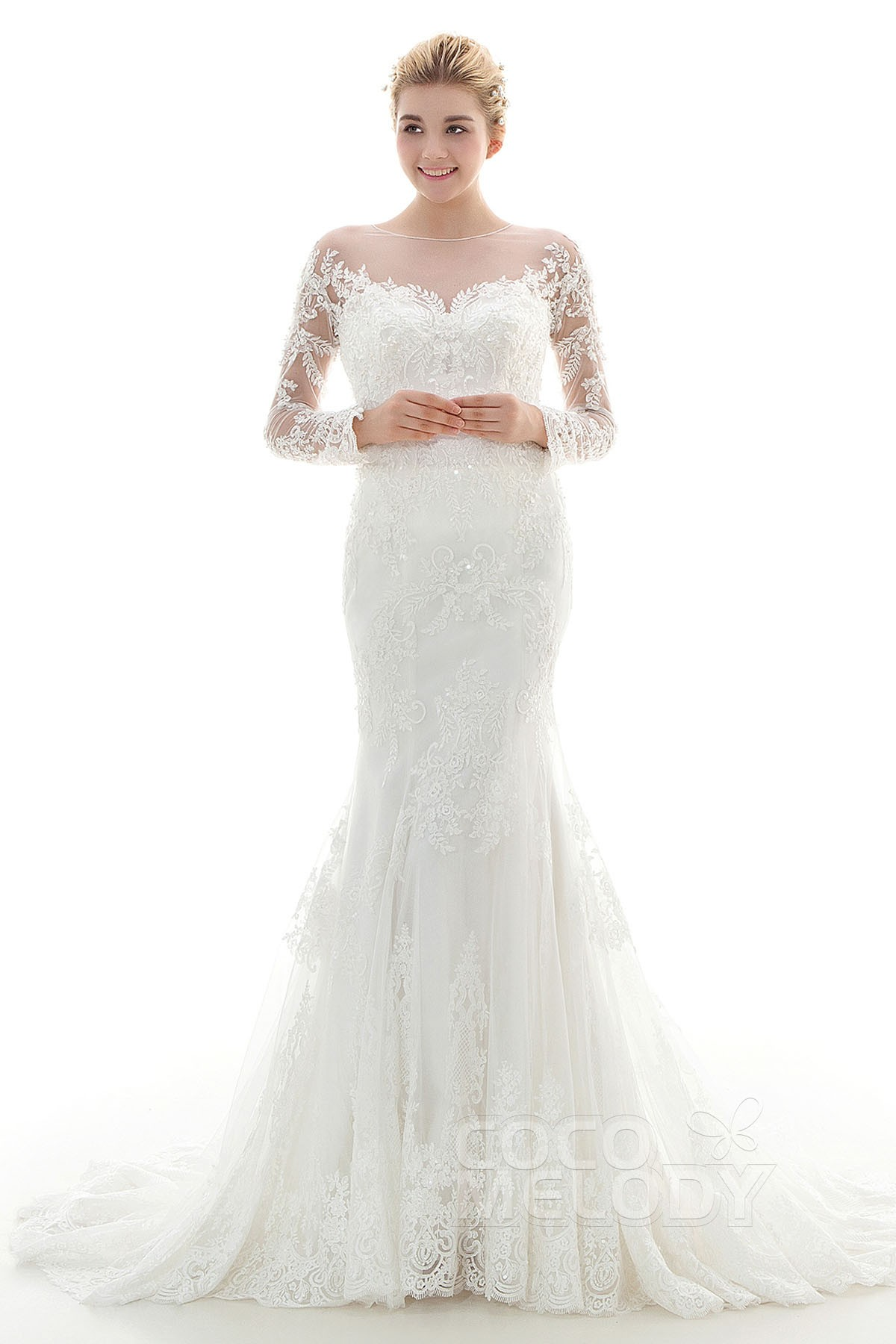 Cocomelody: Trumpet-Mermaid Illusion Court Train Lace Wedding Dress ...