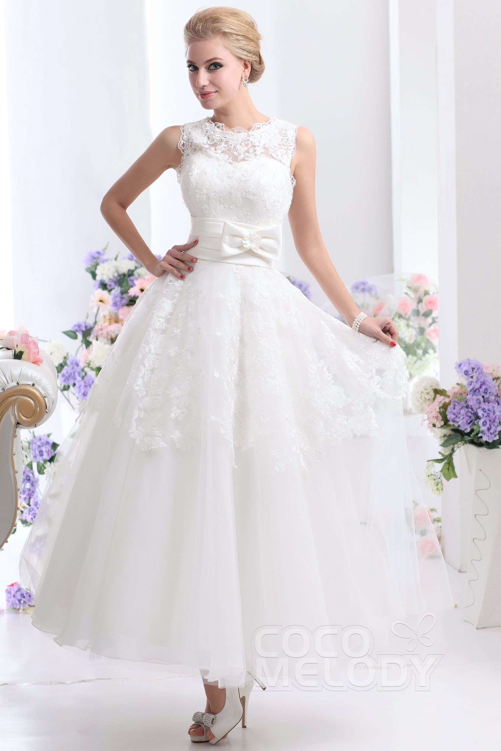 A-Line Ankle Length Tulle Lace Wedding Dress CWZA14001 | Cocomelody