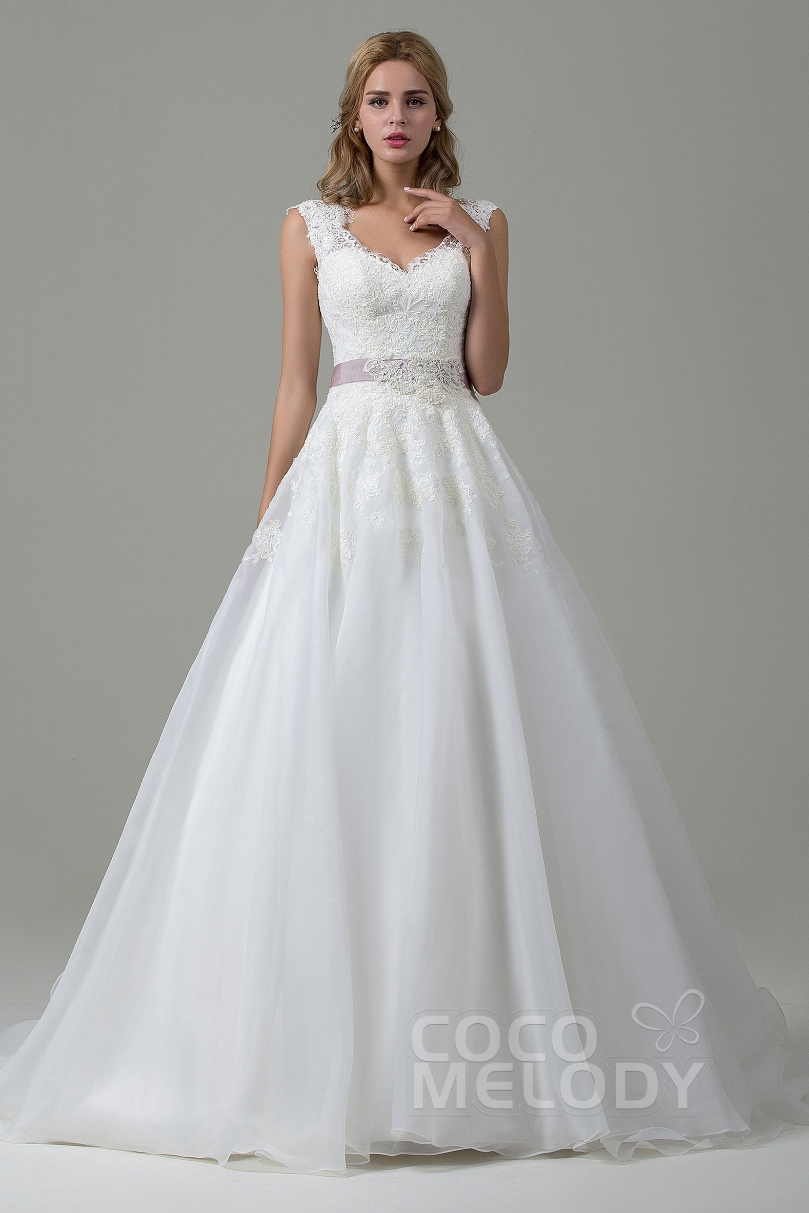 A-Line Lace Organza Court Train Wedding Dress CWZT15007 | Cocomelody
