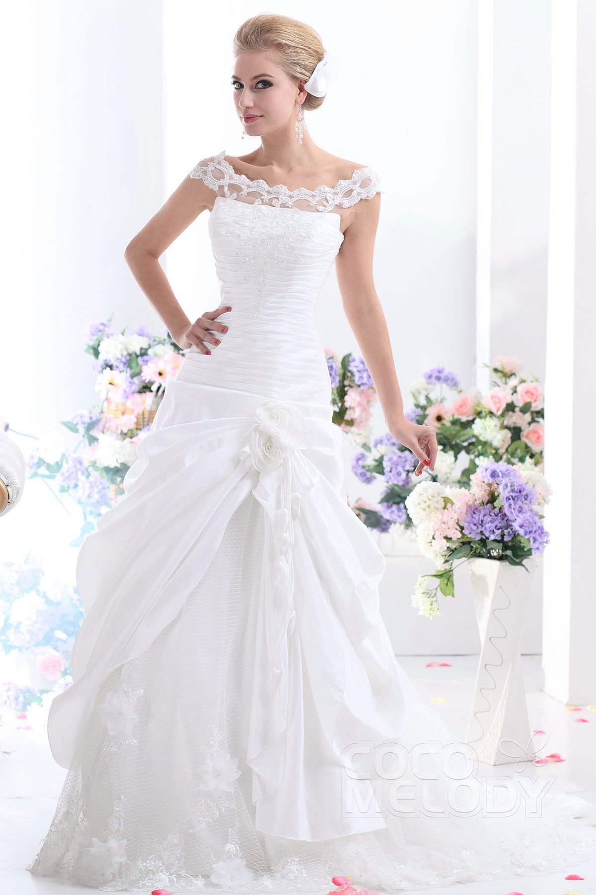 Cocomelody a line off the shoulder chapel train taffeta wedding modern a line off the shoulder chapel train taffeta wedding dress cwlt1305a junglespirit Gallery