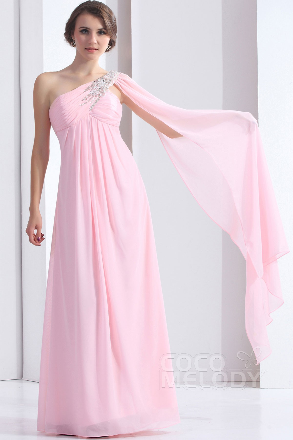 b56003b66 New Design Sheath-Column One Shoulder Floor Length Chiffon Bridesmaid Dress  COZF1304E