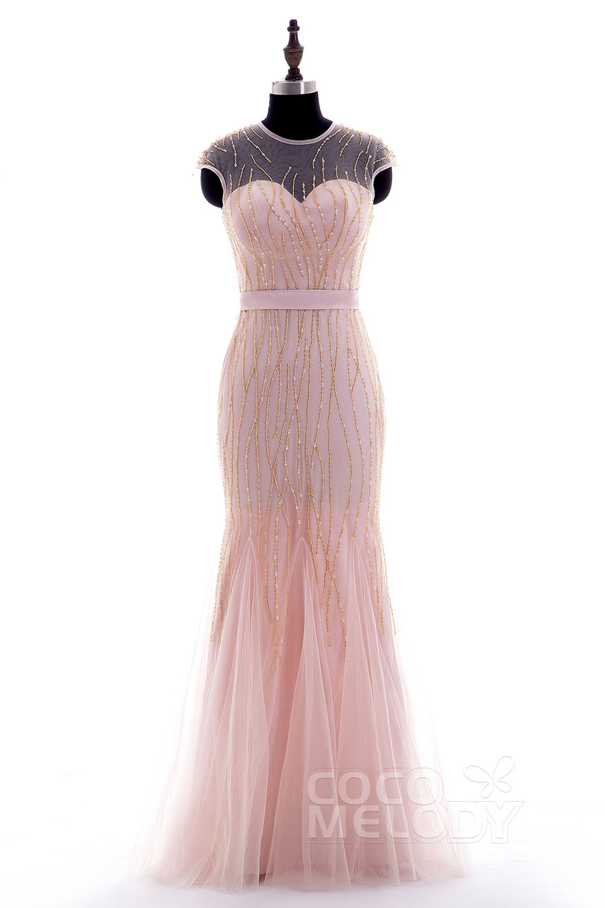 fa1423a42c3 Vintage Sheath-Column Illusion Floor Length Tulle Cap Sleeve Zipper Prom  Dress Beading Ribbons F14P0040