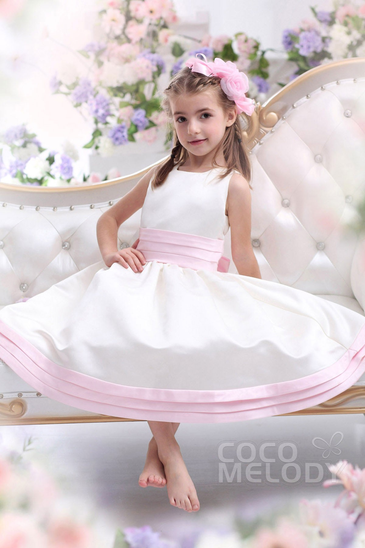 Cocomelody A Line Tank Top Tea Length Satin Flower Girl Dress Ckzi13002