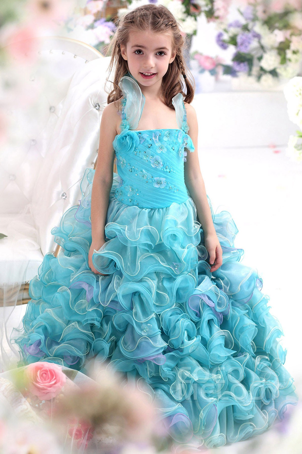 Ball Gown Halter Floor Length Organza Girls Pageant Dress CKZF13006 ...