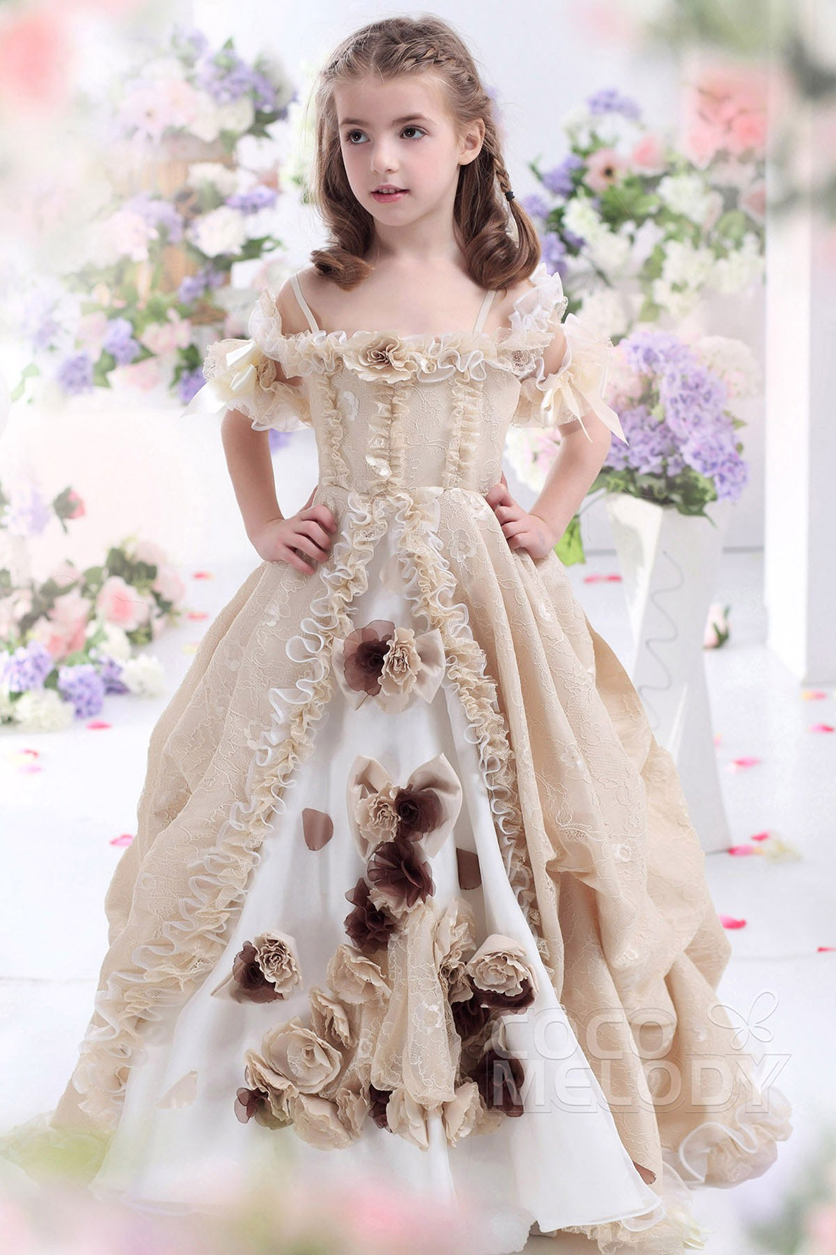 A-Line Floor Length Lace Girls Pageant Dress CKJF13003   Cocomelody