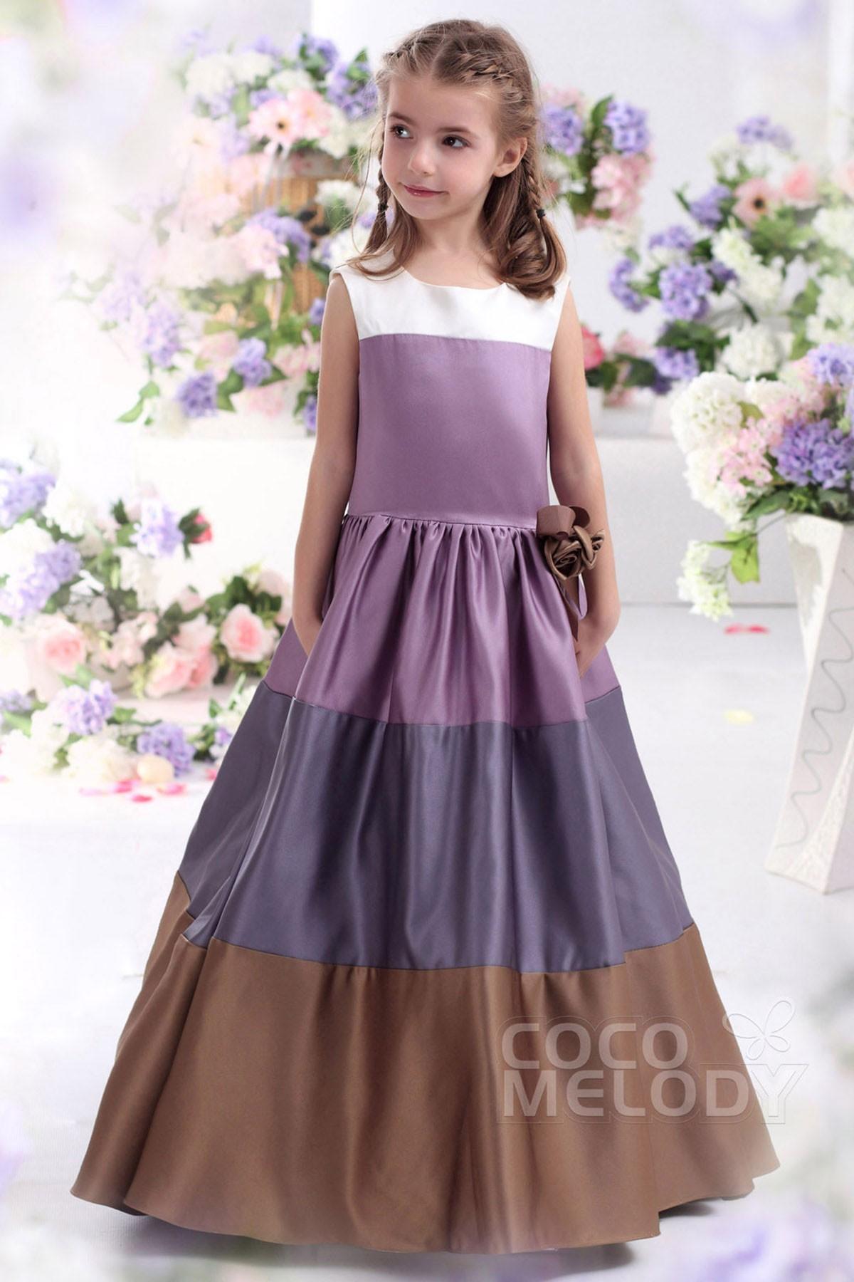 A Line Floor Length Satin Girls Christmas Dress CKZF13003 | Cocomelody