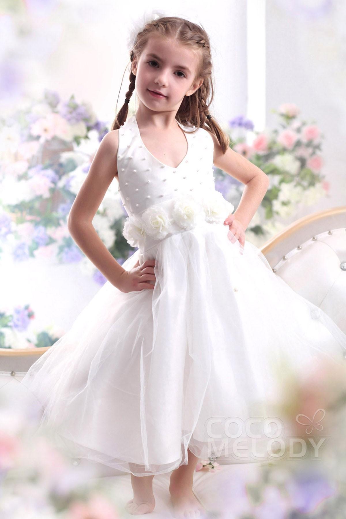 A Line Tea Length Organza Flower Girl Dress Ckzi13003 Cocomelody