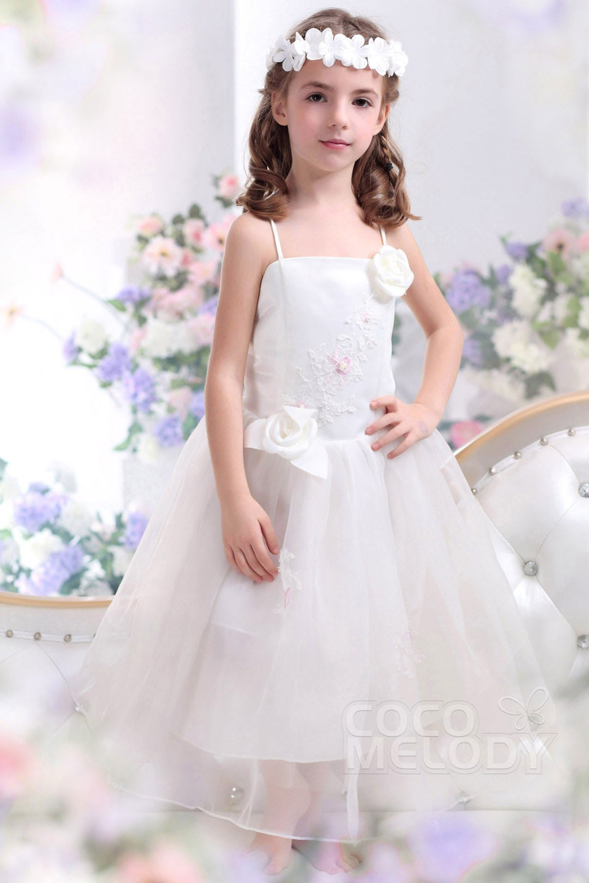 Cocomelody A Line Spaghetti Strap Ankle Length Organza Flower Girl