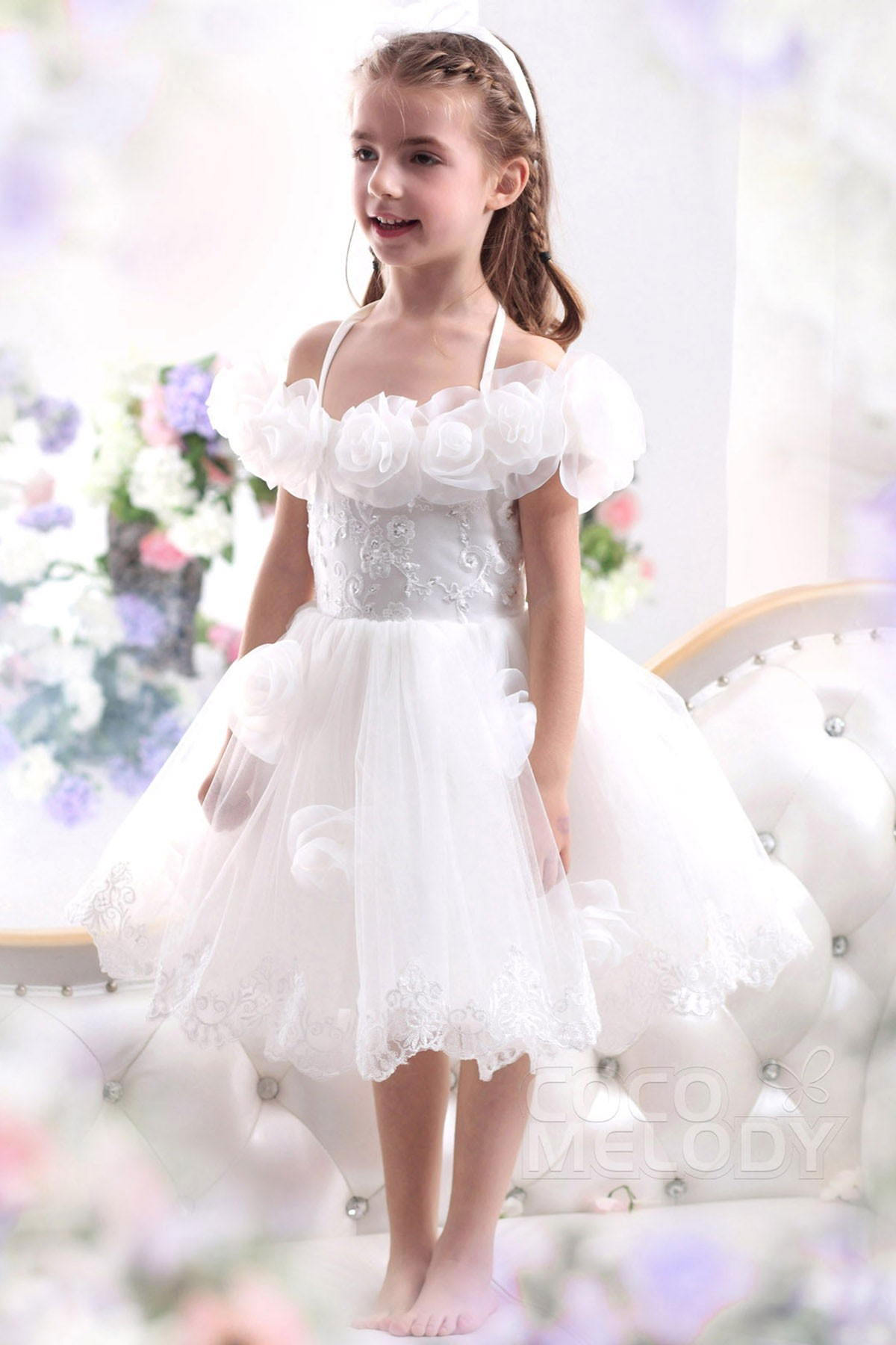 A Line Halter Tea Length Tulle Flower Girl Dress Ckzk13003 Cocomelody
