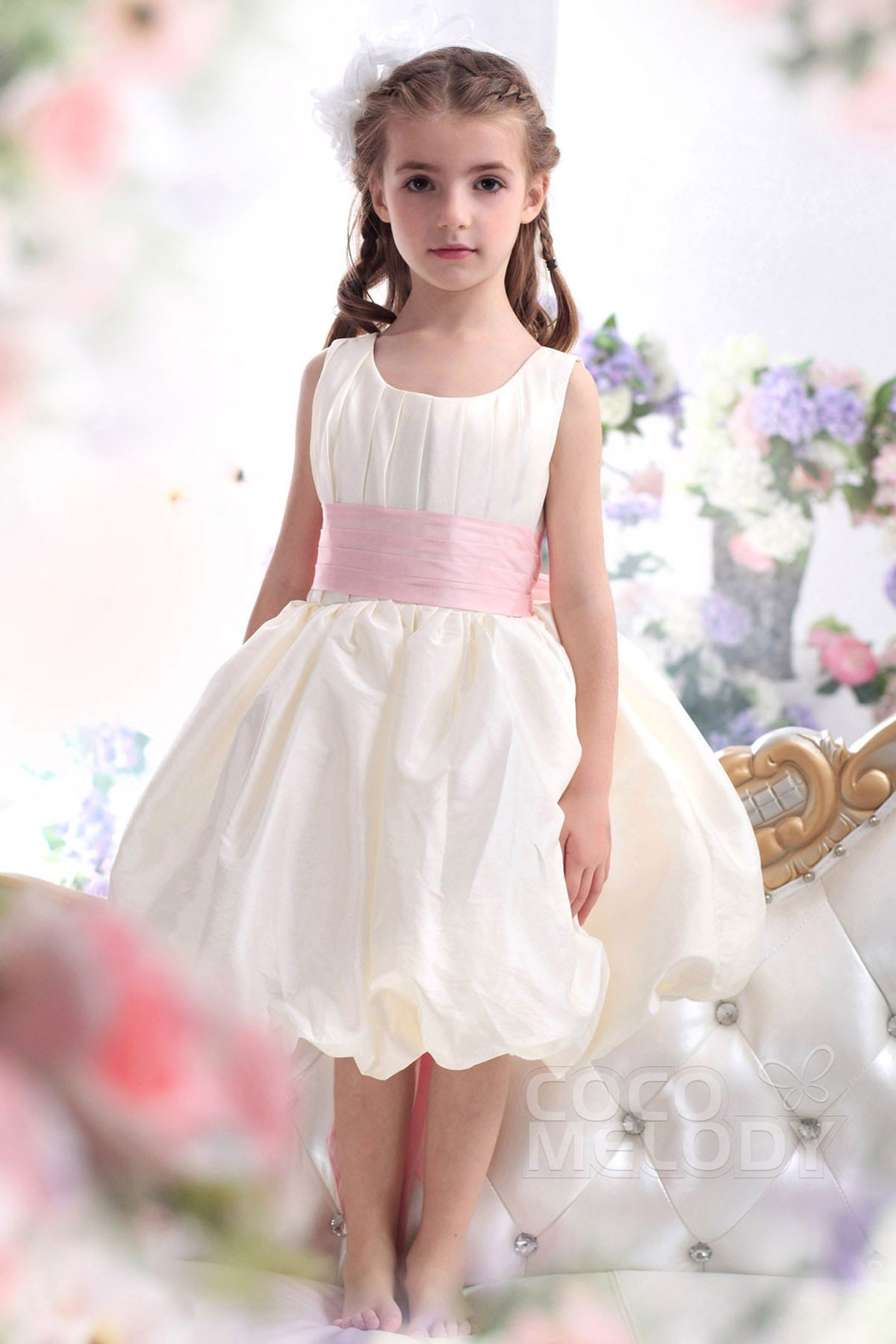 Ball Gown Tea Length Taffeta Flower Girl Dress CKZK13004 | Cocomelody