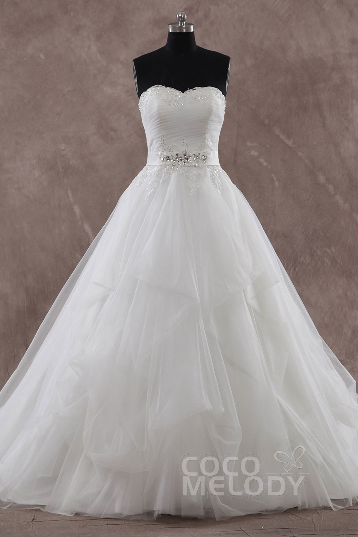 Hot A Line Sweetheart Natural Train Tulle Ivory Sleeveless Zipper Wedding Dress With Beading And Liques H2ed0048