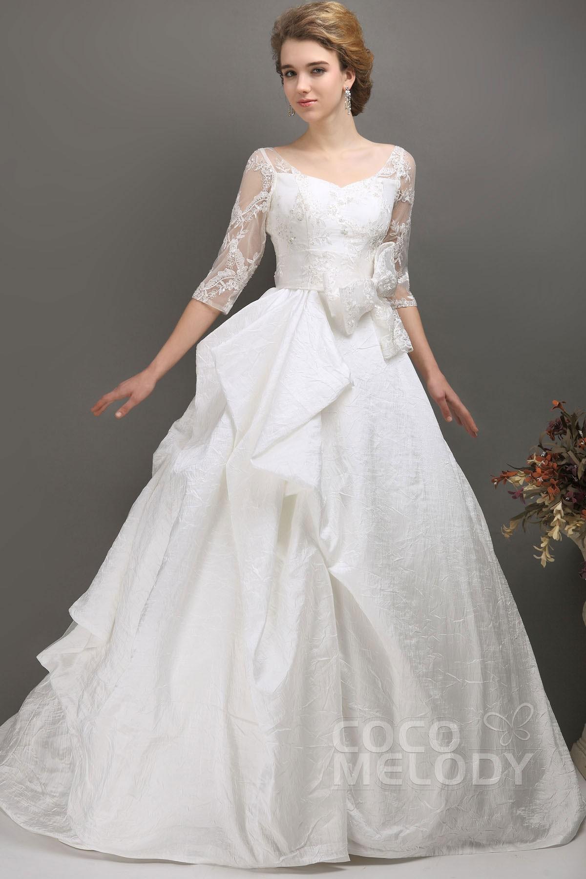 Cocomelody: A-Line Chapel Train Taffeta Half Sleeve Wedding Dress ...