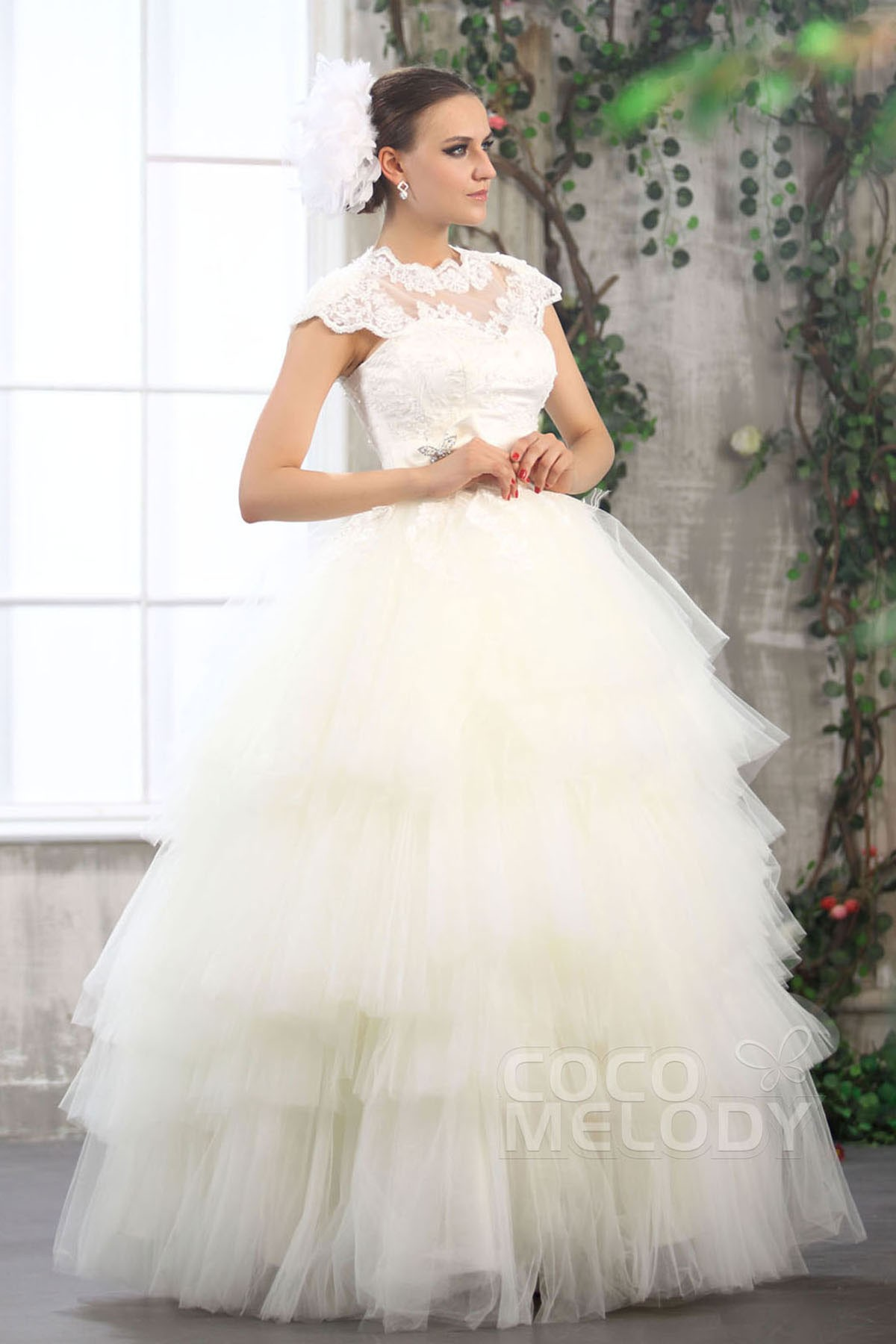Ball Gown Floor Length Tulle Wedding Dress CWXF13003 | Cocomelody