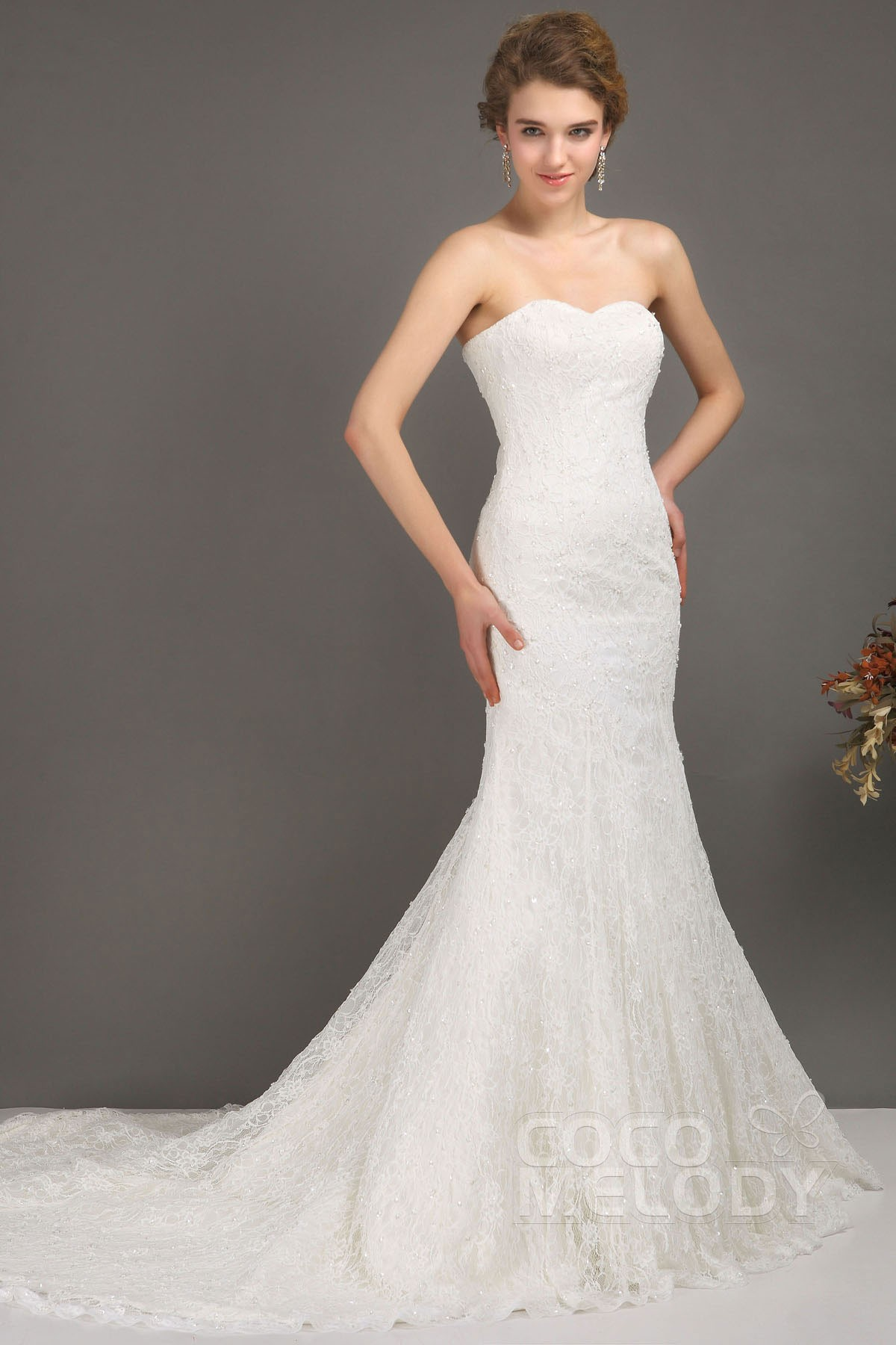 Trumpet-Mermaid Court Train Lace Wedding Dress CWLT09001 | Cocomelody