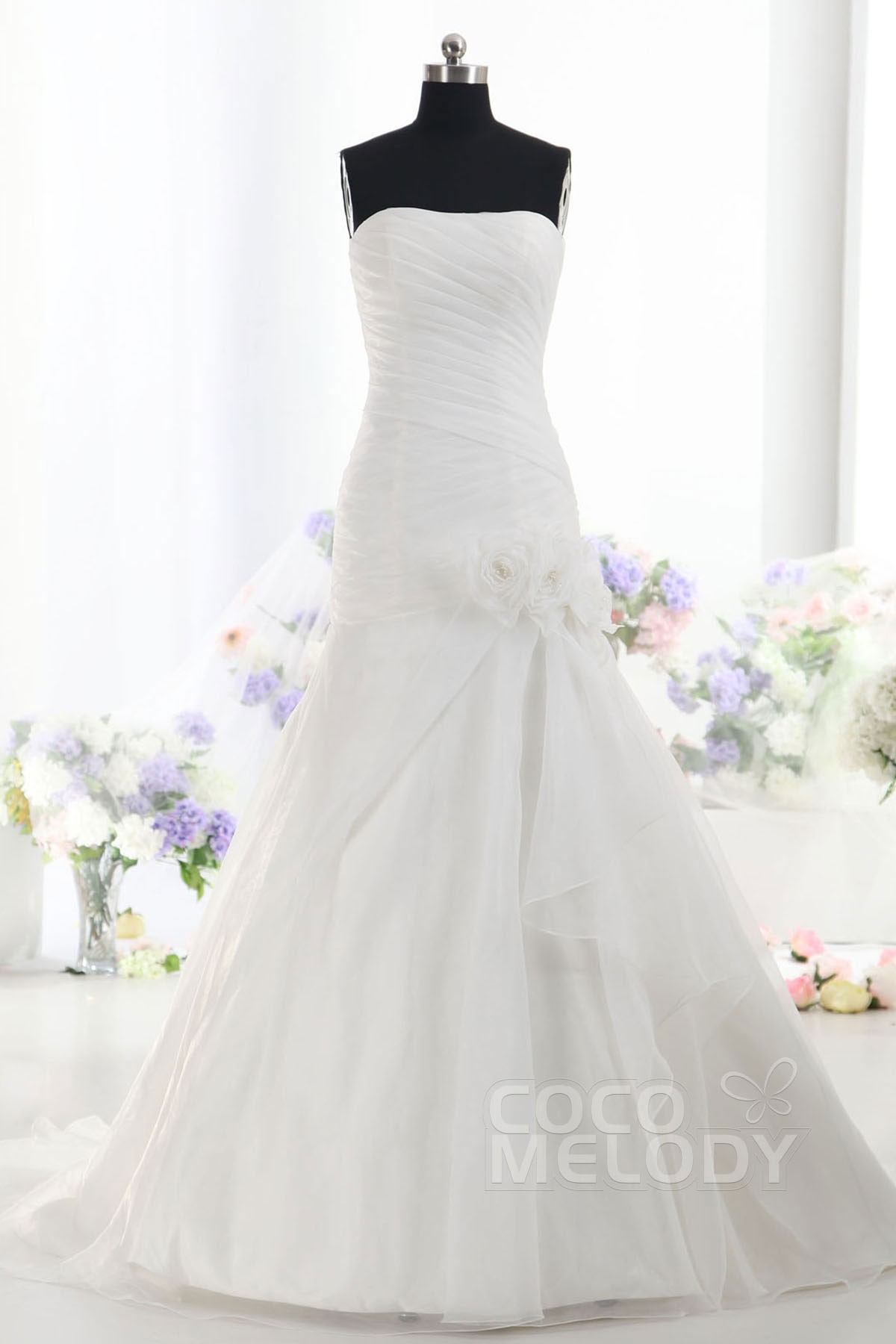 Cocomelody: A-Line Strapless Dropped Court Train Tulle Wedding Dress ...