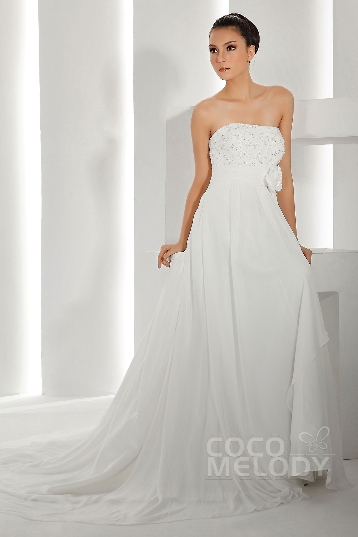 Sheath-Column Train Chiffon Wedding Dress CWXT13019 | Cocomelody