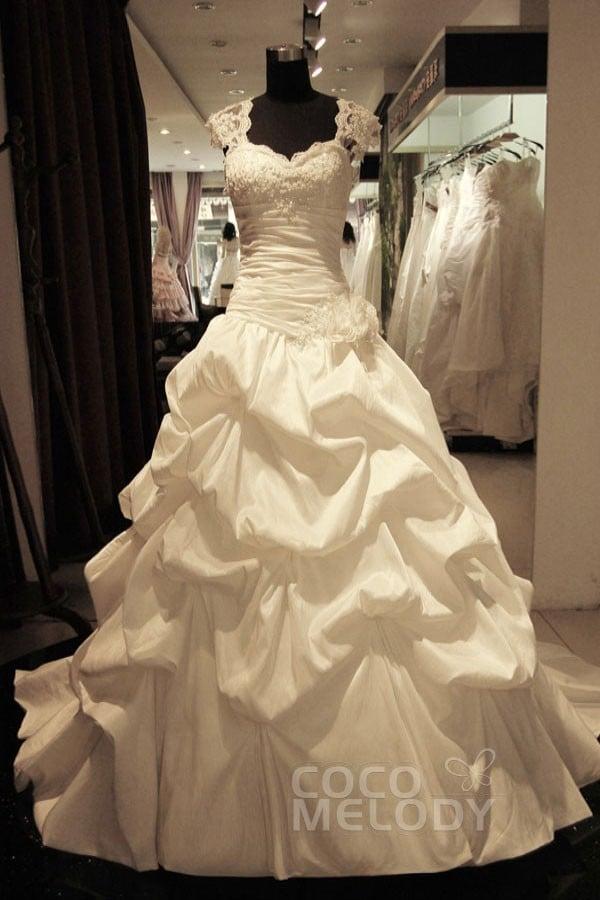Cocomelody: A-Line Straps Dropped Chapel Train Taffeta Wedding Dress ...