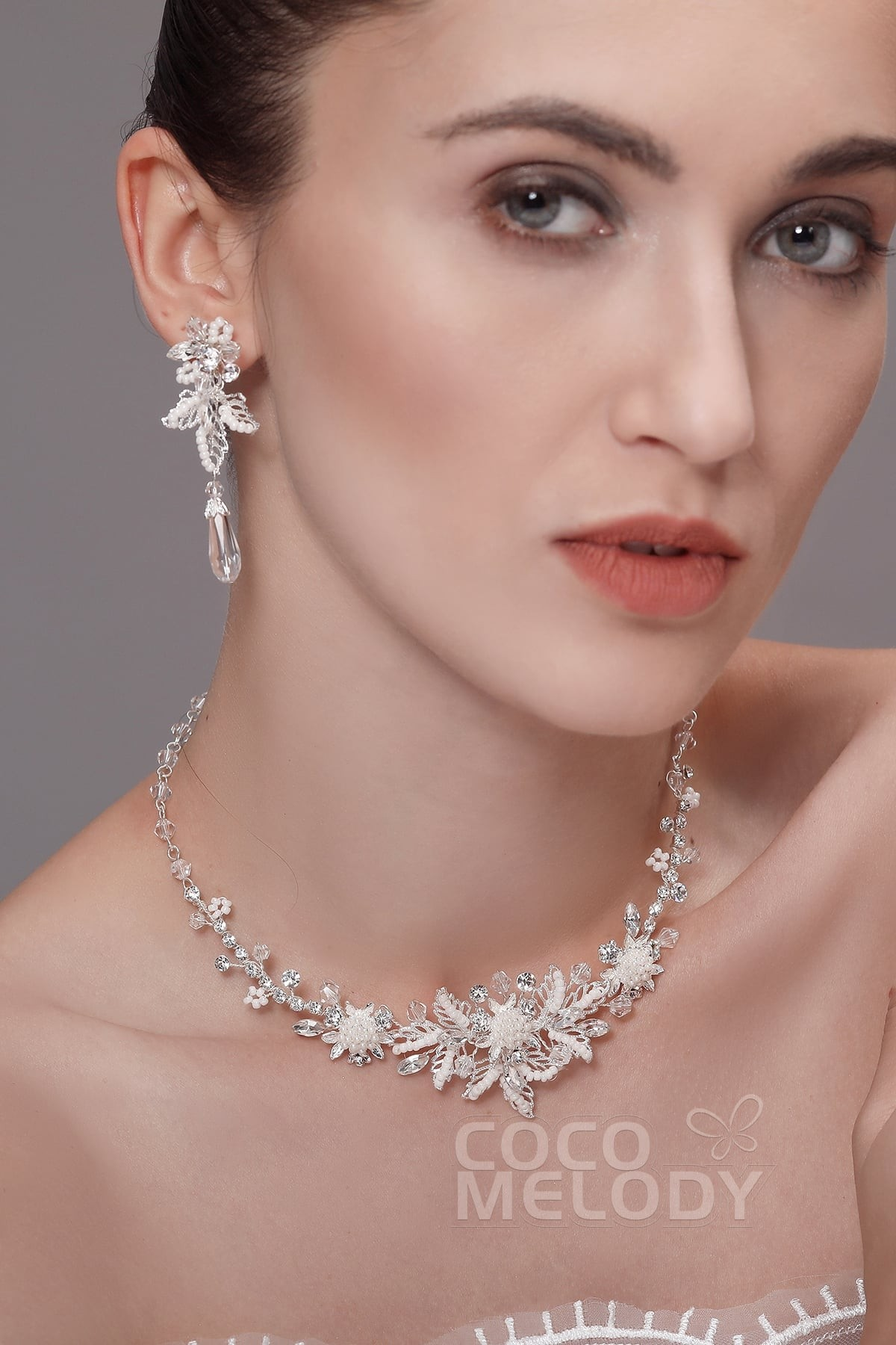 Cocomelody: Zircon Wedding Necklace and Earrings Jewelry Imitation ...