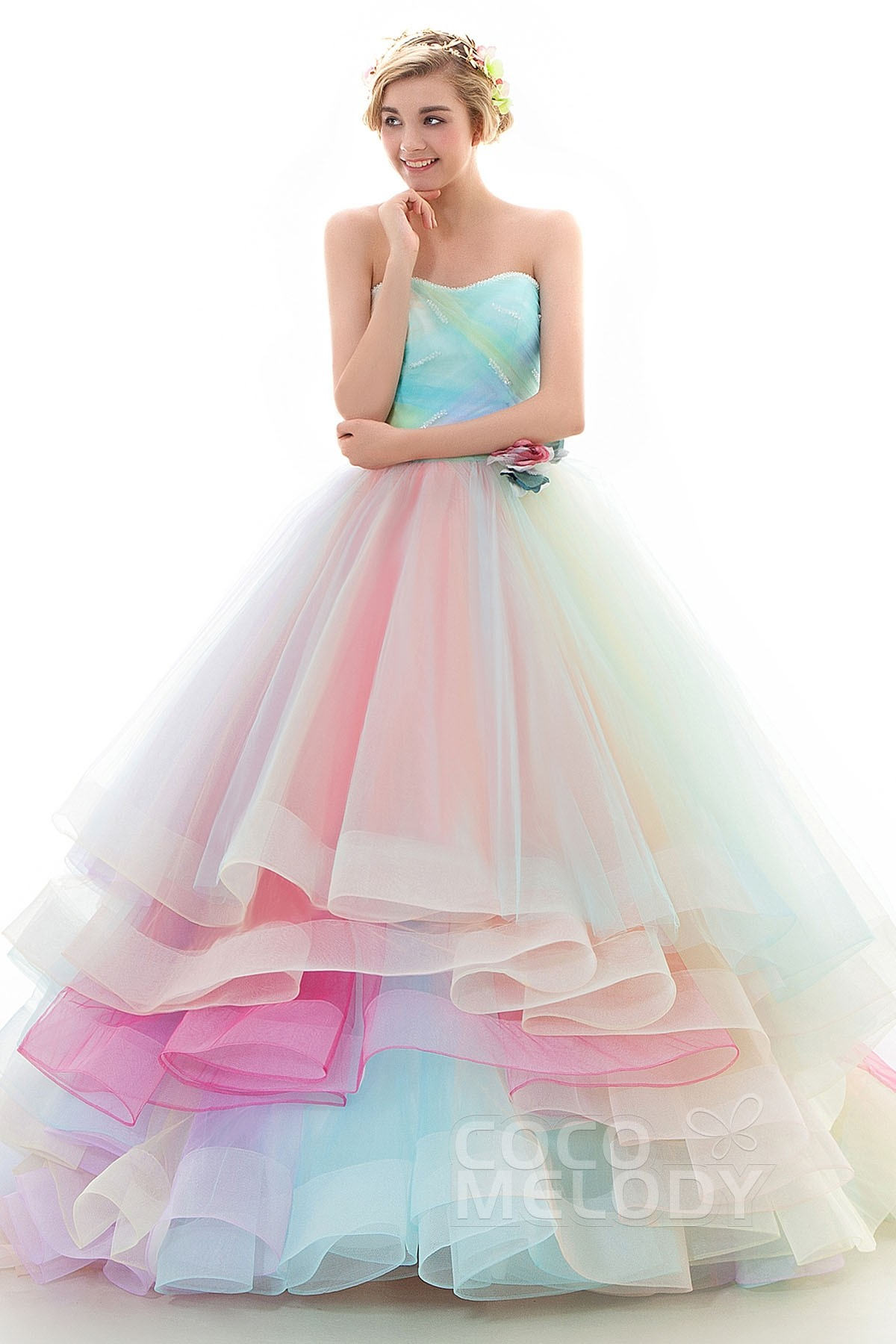 A Line Court Train Tulle Wedding Dress Jwlt15067 Cocomelody