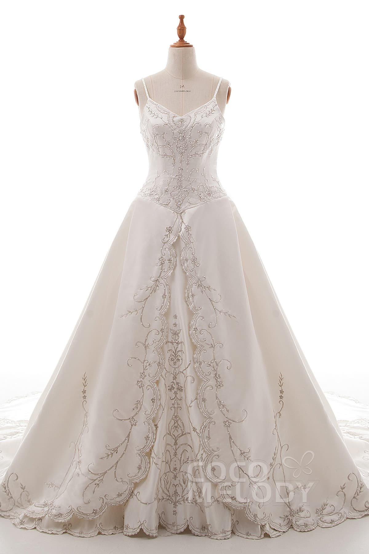 Cocomelody: A-Line Spaghetti Strap Chapel Train Satin Wedding Dress ...