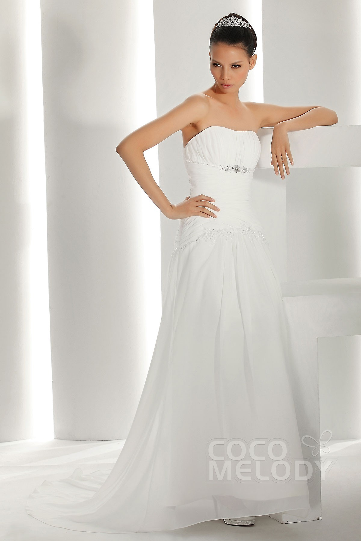 Sheath-Column Train Chiffon Wedding Dress CWLT130A5 | Cocomelody