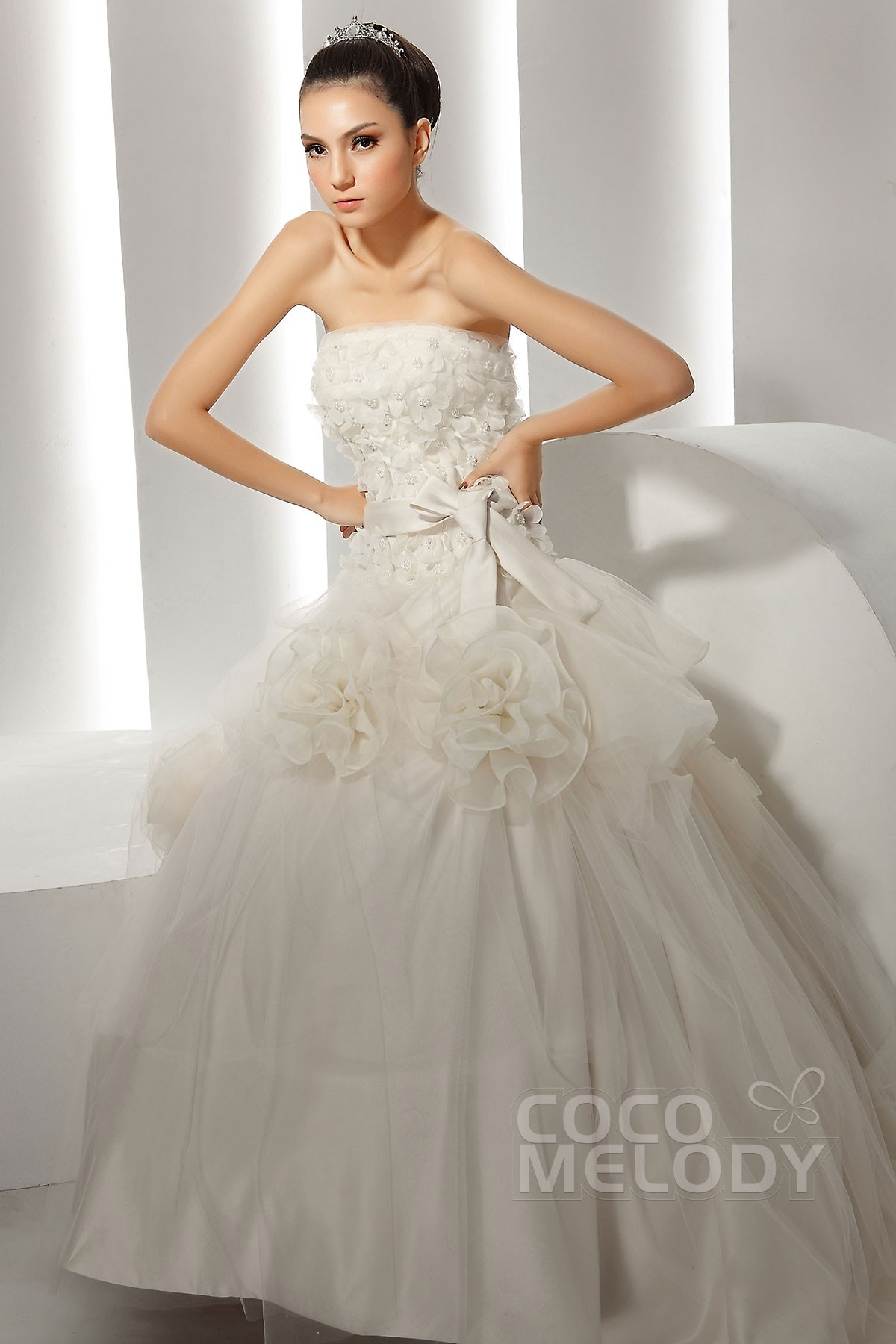 Cocomelody: Ball Gown Strapless Chapel Train Organza Wedding Dress ...