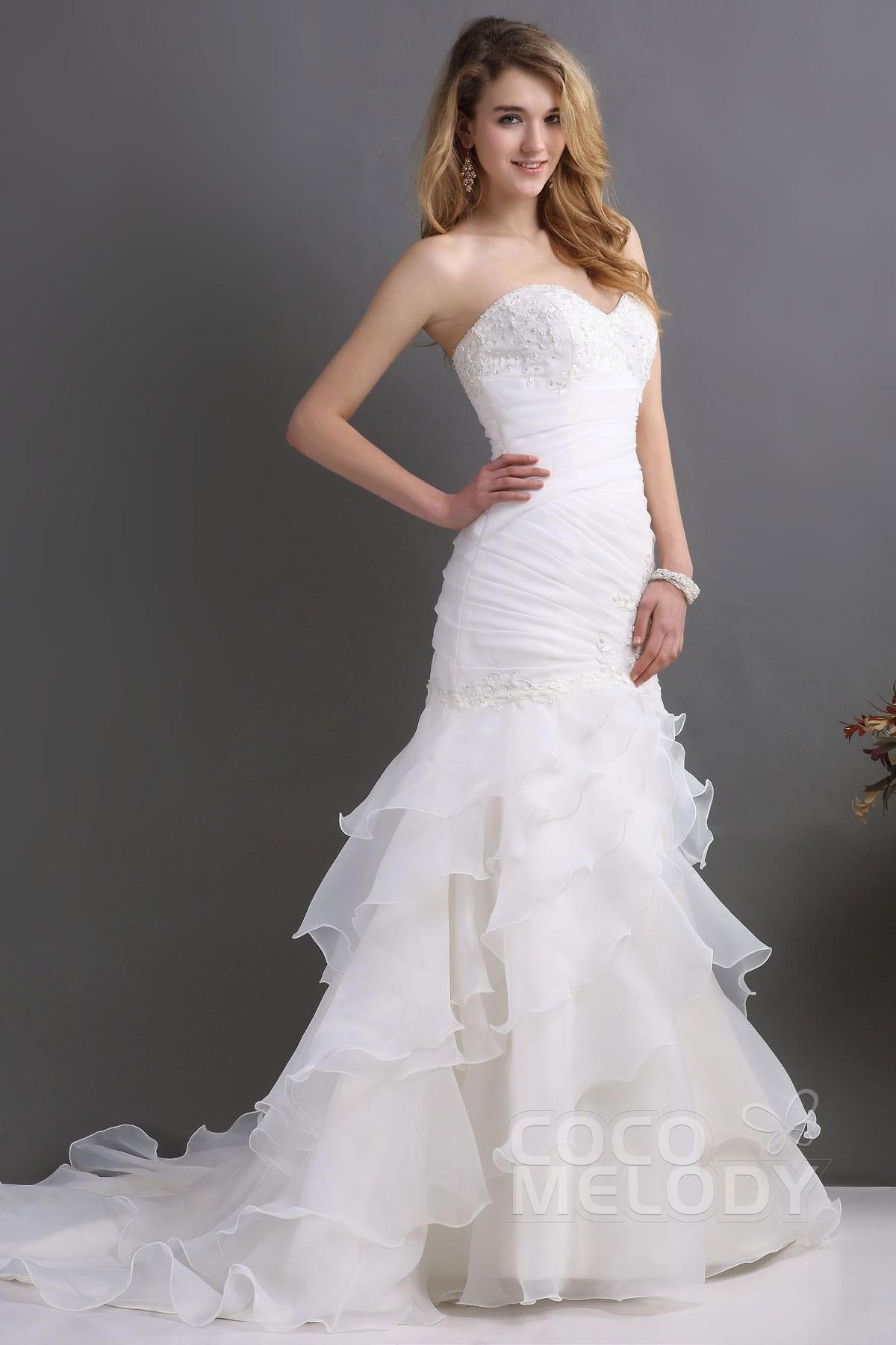 Cocomelody: Trumpet-Mermaid Sweep-Brush Train Organza Wedding Dress ...