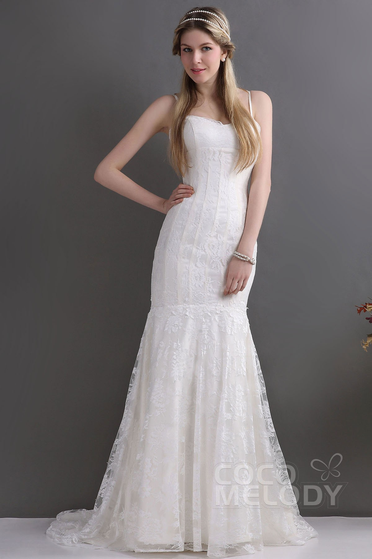 Cocomelody: Trumpet-Mermaid Spaghetti Strap Train Lace Wedding Dress ...