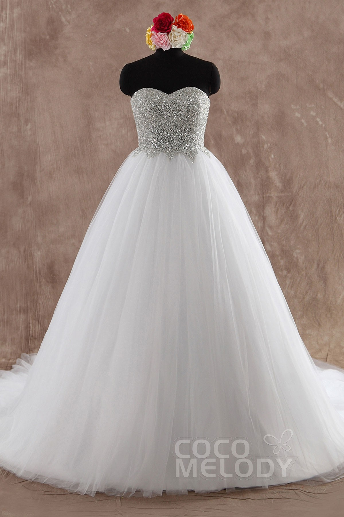 Cocomelody: Princess Sweetheart Chapel Train Wedding Dress Sequins ...