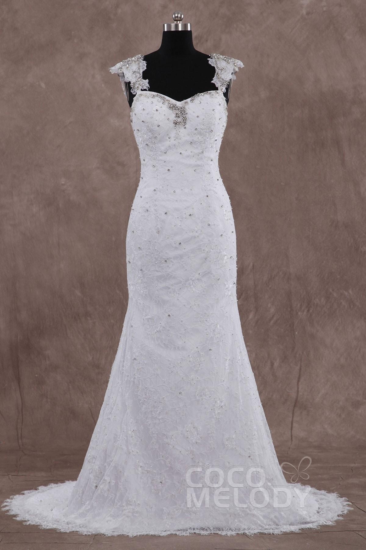 Sheath-Column Sweep-Brush Train Lace Wedding Dress LD3335 | Cocomelody