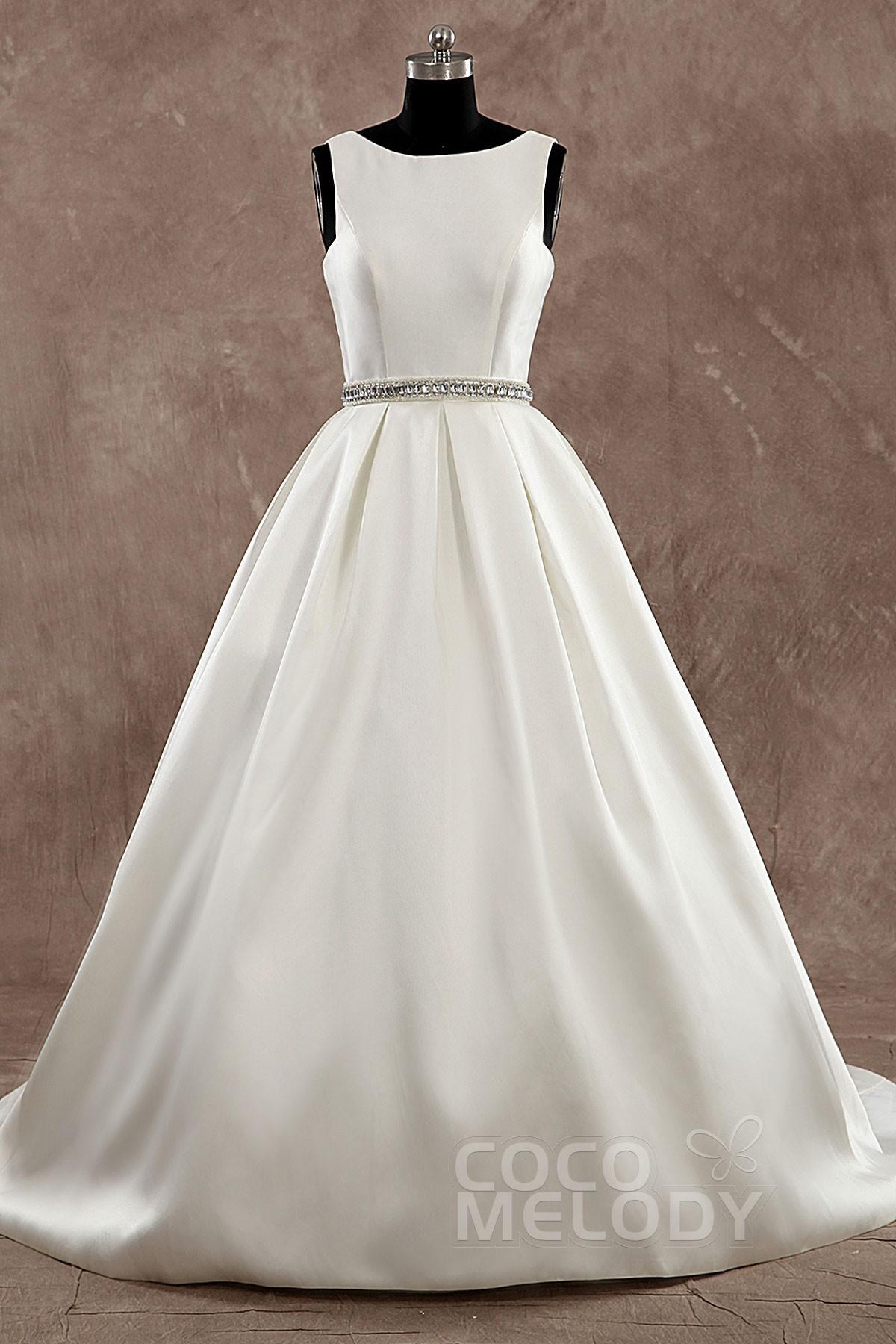 Cocomelody: A-Line Bateau Court Train Satin Wedding Dress Sashes ...
