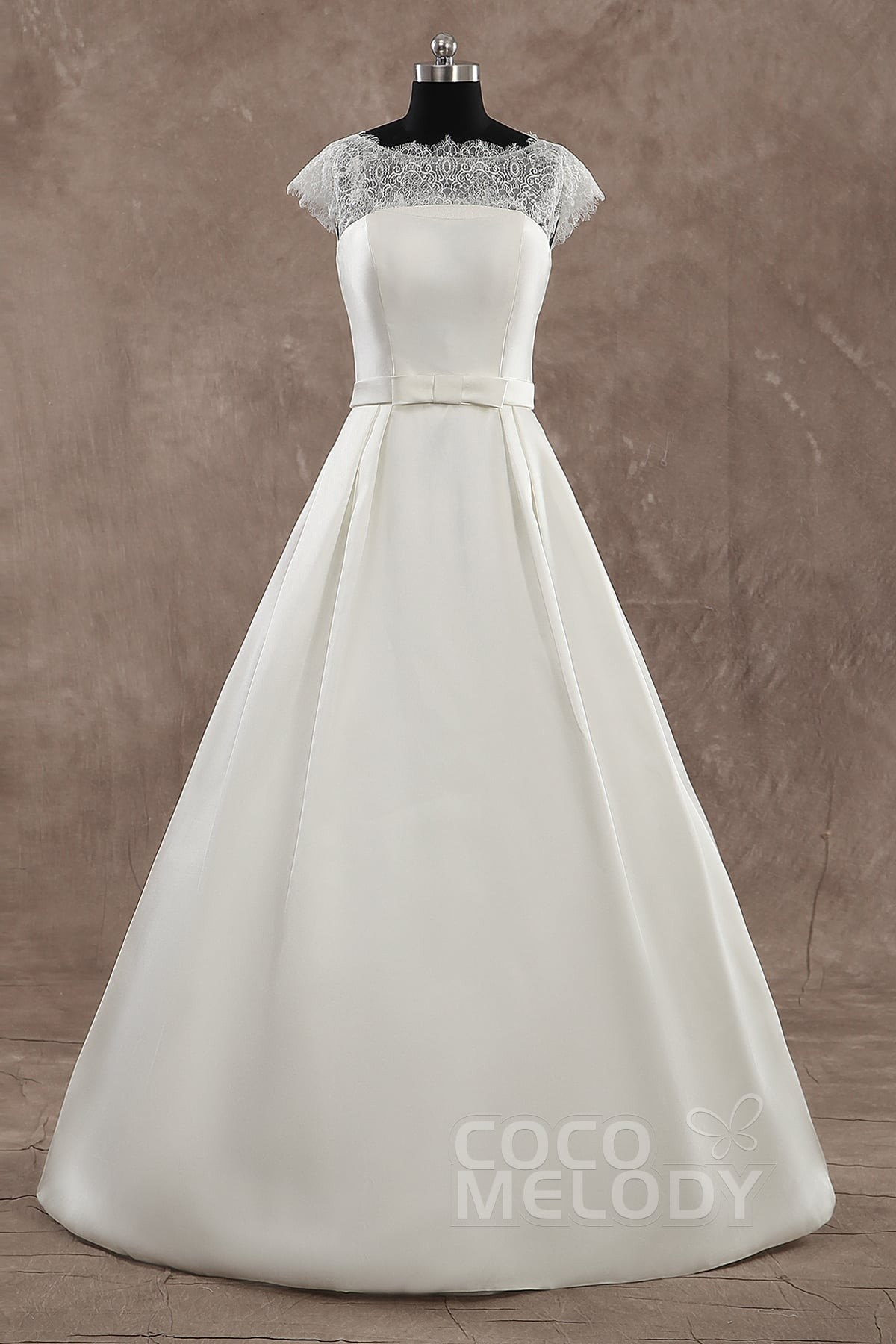 Cocomelody: A-Line Illusion Court Train Satin Cap Sleeve Wedding ...