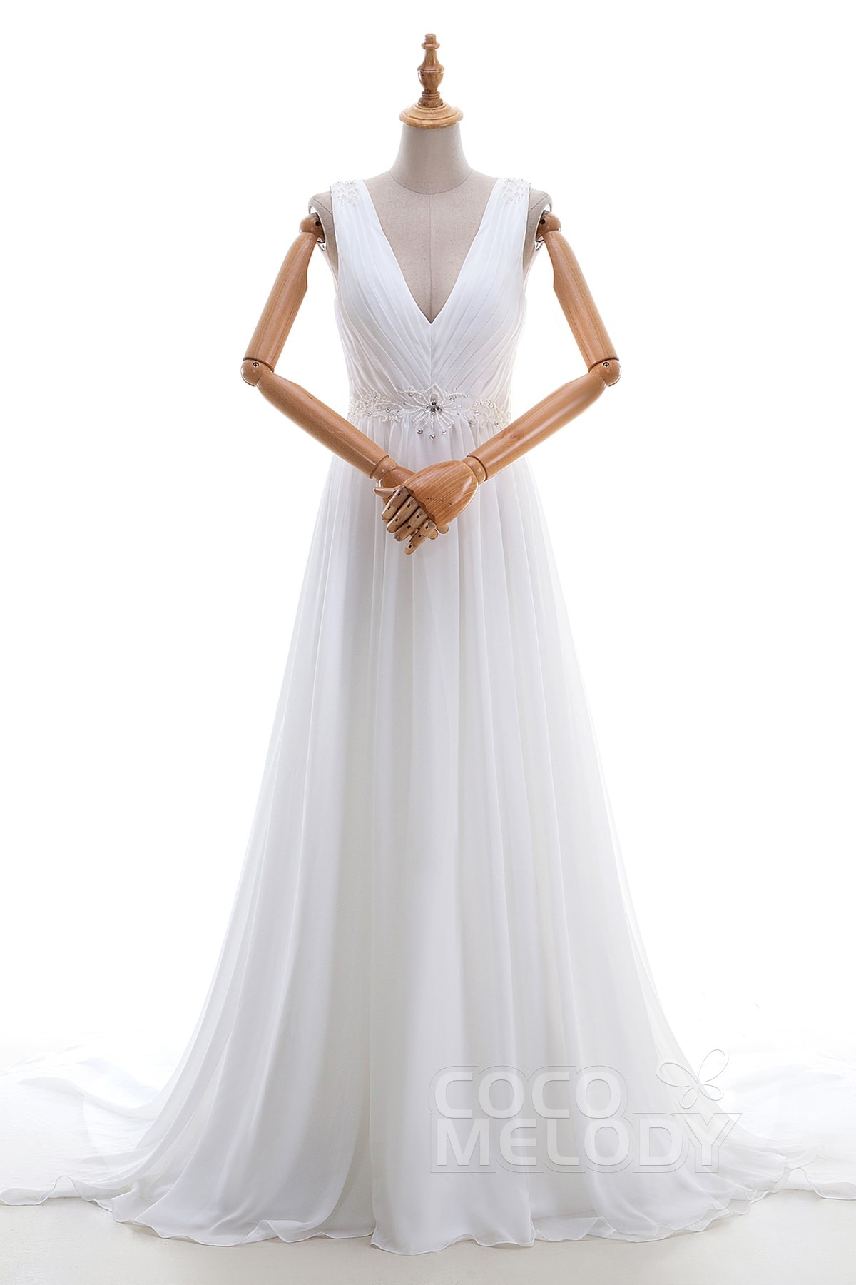 Sheath Long Scoop Sleeveless Lace-Up Chiffon Dress With Lace And Beading
